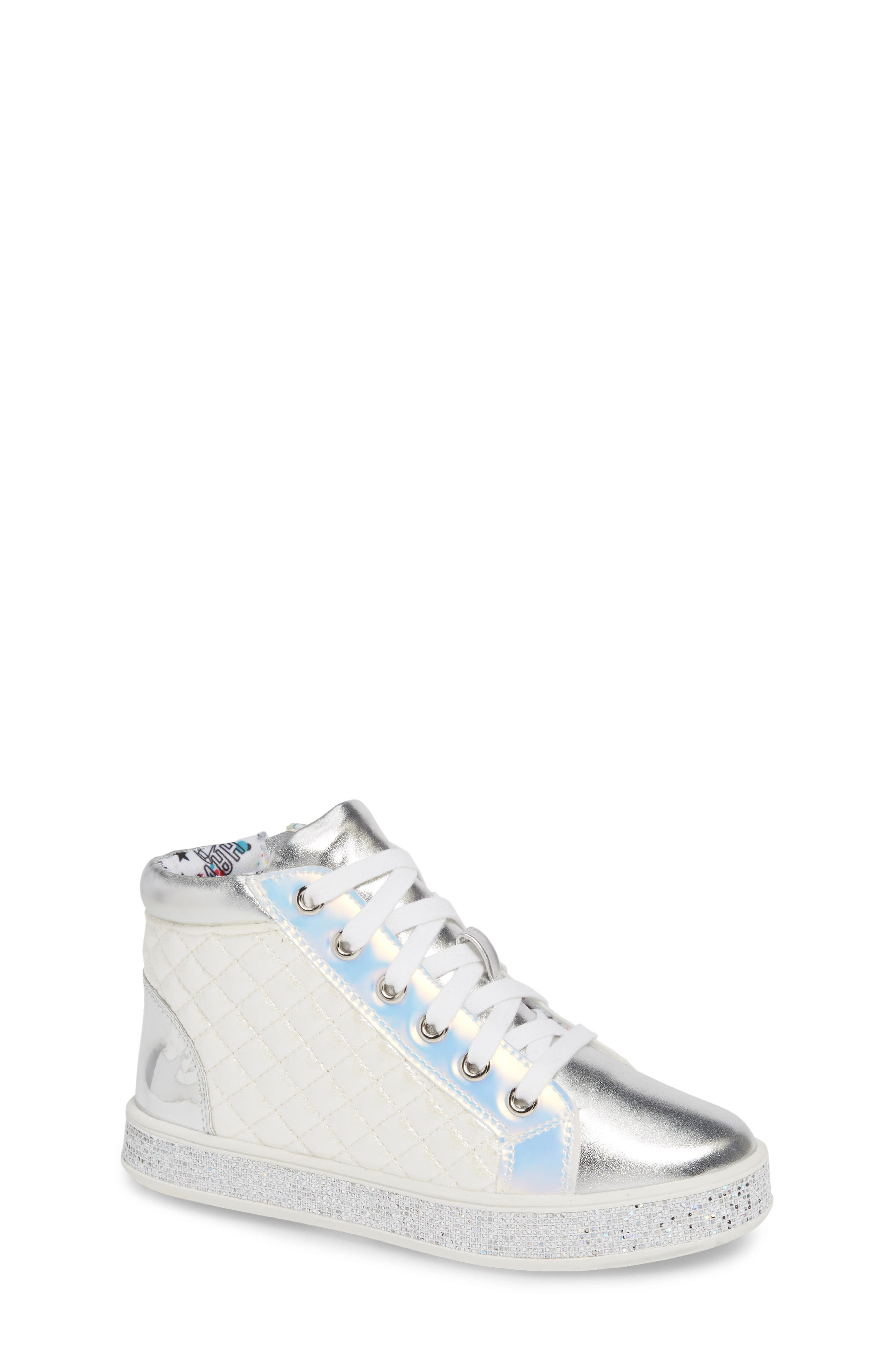 Glittery High Top Sneaker,                             Main thumbnail 1, color,                             WHITE
