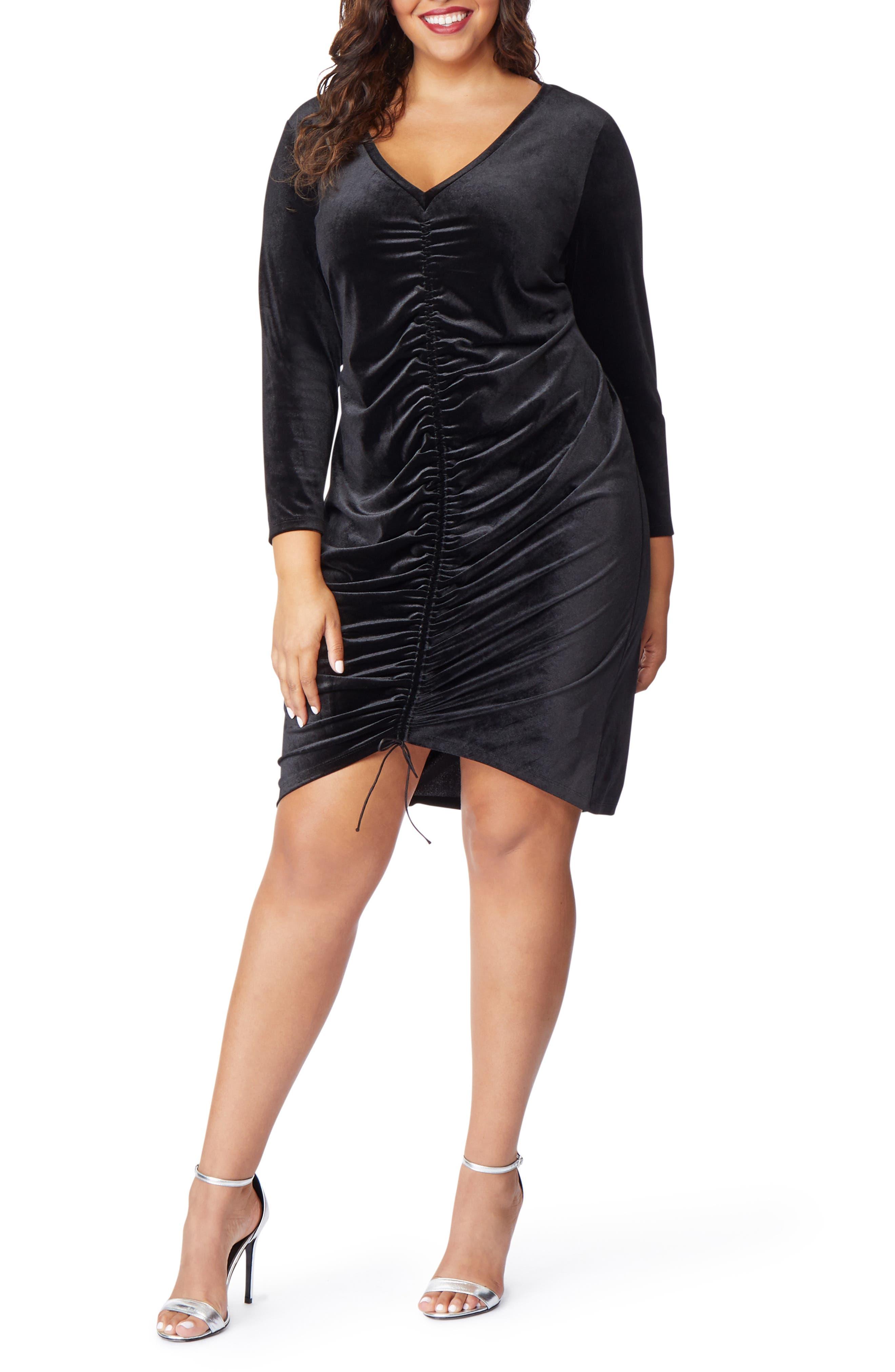 Ruched Velvet Dress,                         Main,                         color, BLACK BEAUTY