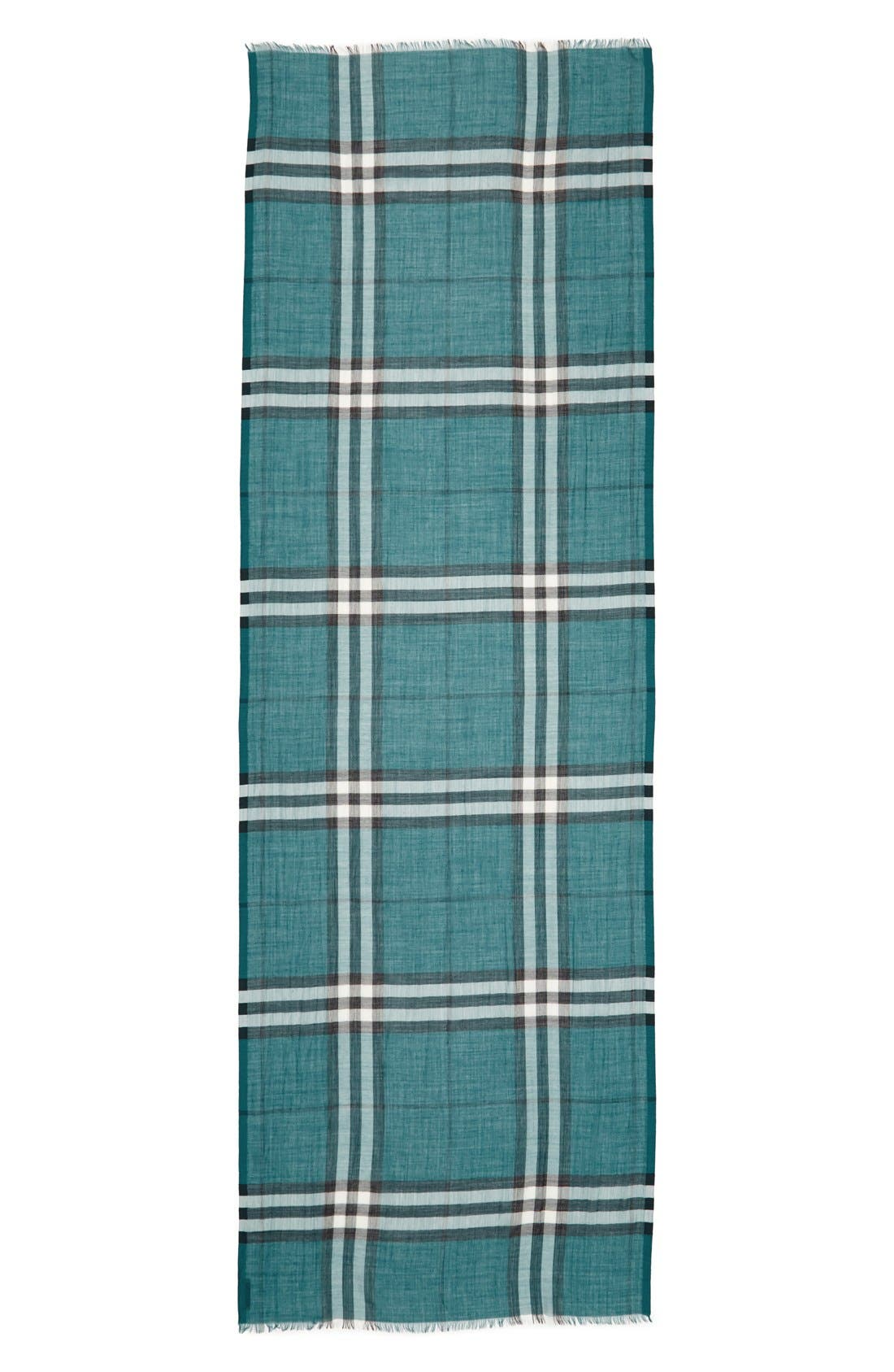 Giant Check Print Wool & Silk Scarf,                             Alternate thumbnail 97, color,