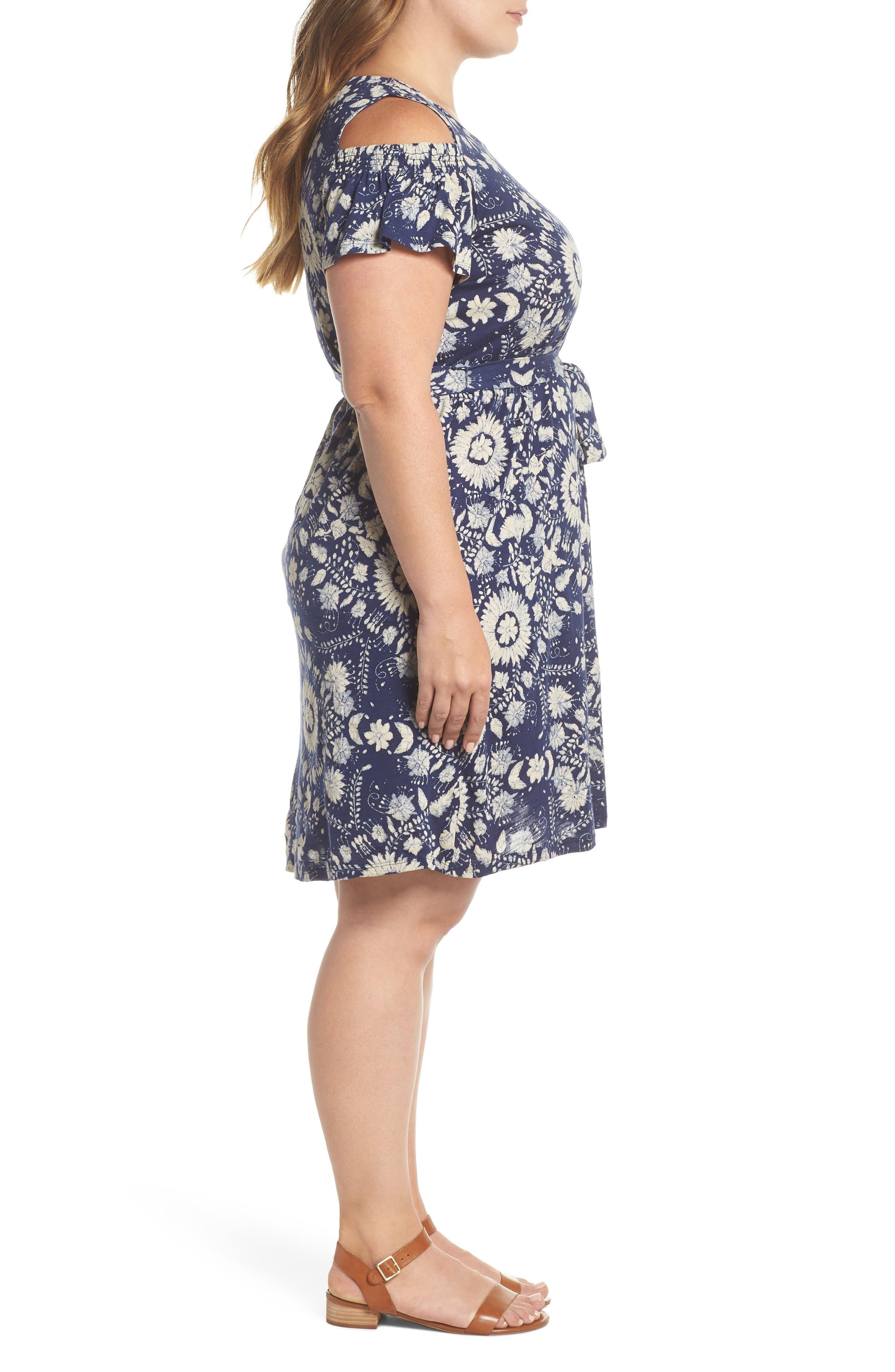 Cold Shoulder Print Belted Dress,                             Alternate thumbnail 3, color,                             460