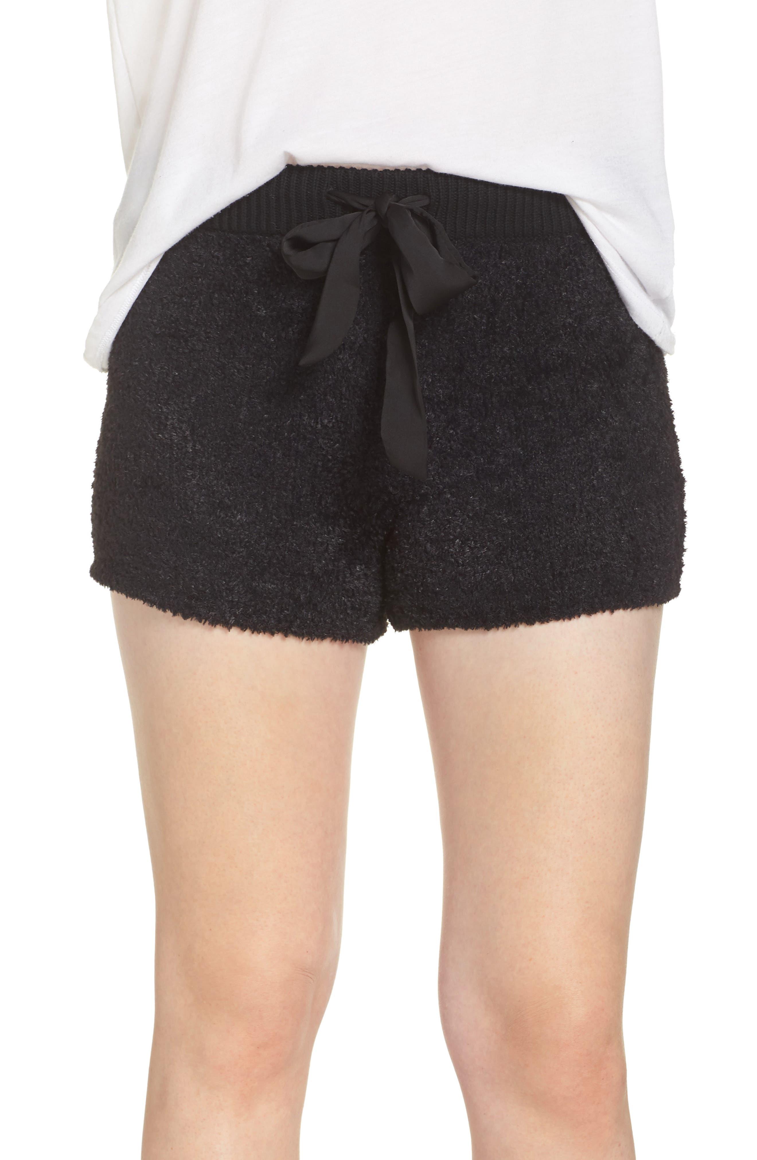 Fuzzy Lounge Shorts,                             Main thumbnail 1, color,                             BLACK
