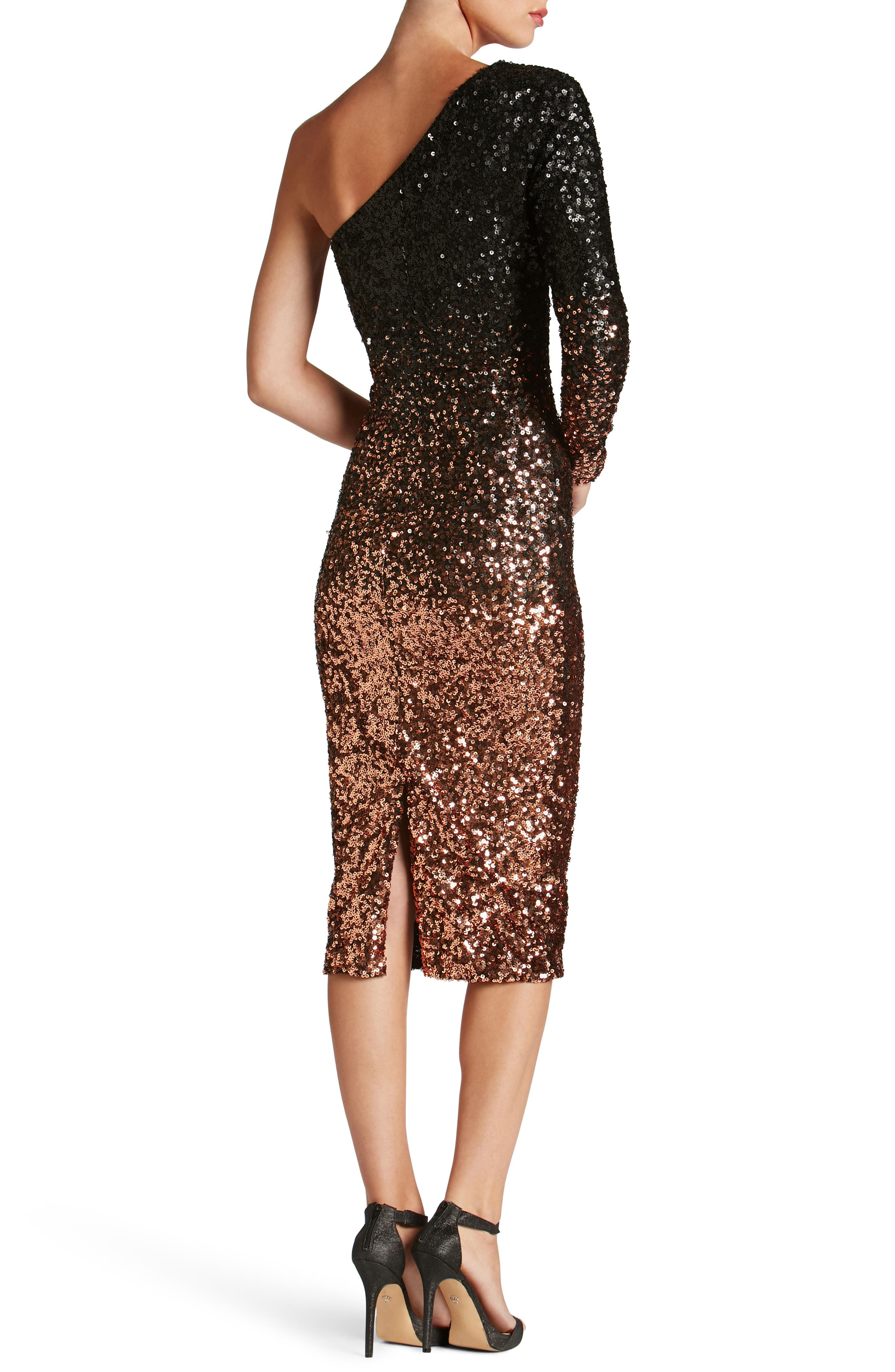 Chrissie One-Shoulder Ombré Sequin Sheath Dress,                             Alternate thumbnail 2, color,                             016