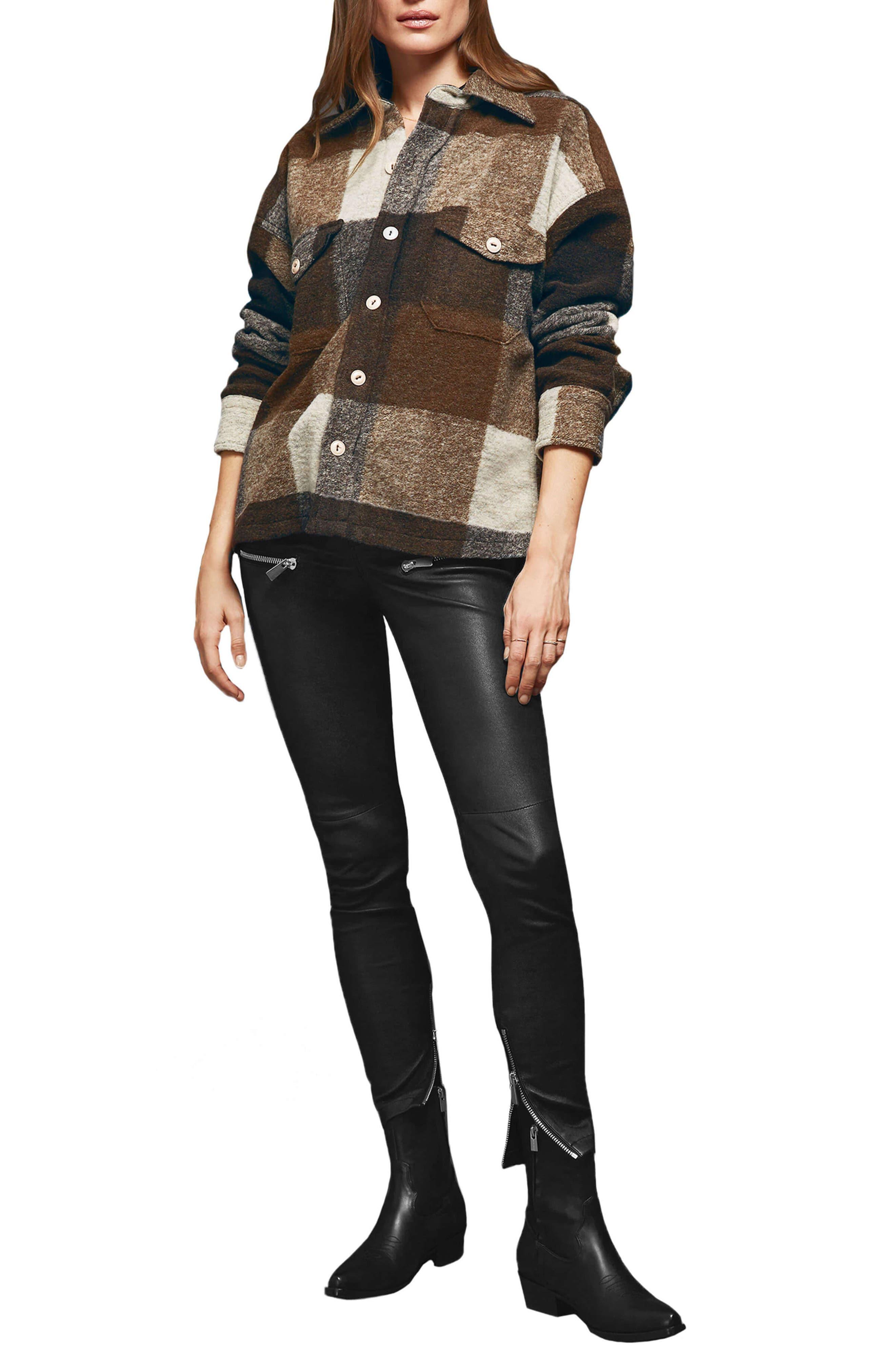 Bobbi Flannel Shirt Jacket,                             Alternate thumbnail 5, color,                             BROWN
