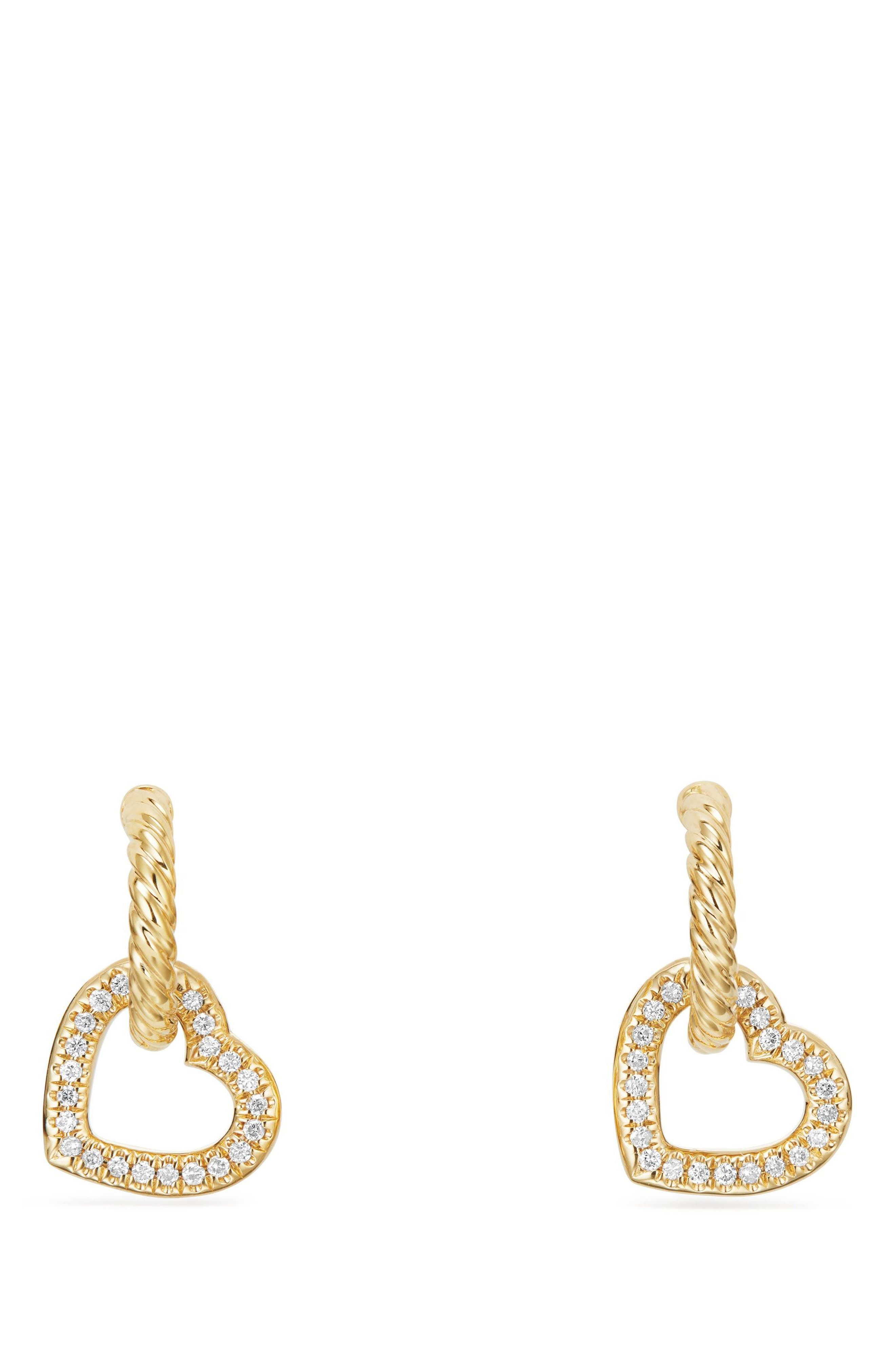 Heart Drop Earrings with Diamonds in 18K Gold,                             Alternate thumbnail 2, color,                             GOLD