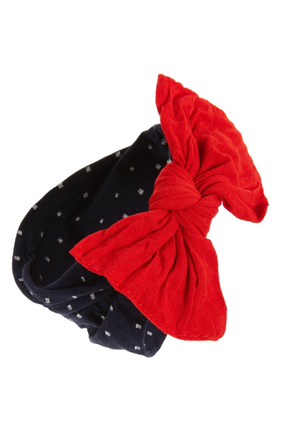 Print Bow Headband,                             Main thumbnail 1, color,                             NAVY DOT/  CHERRY