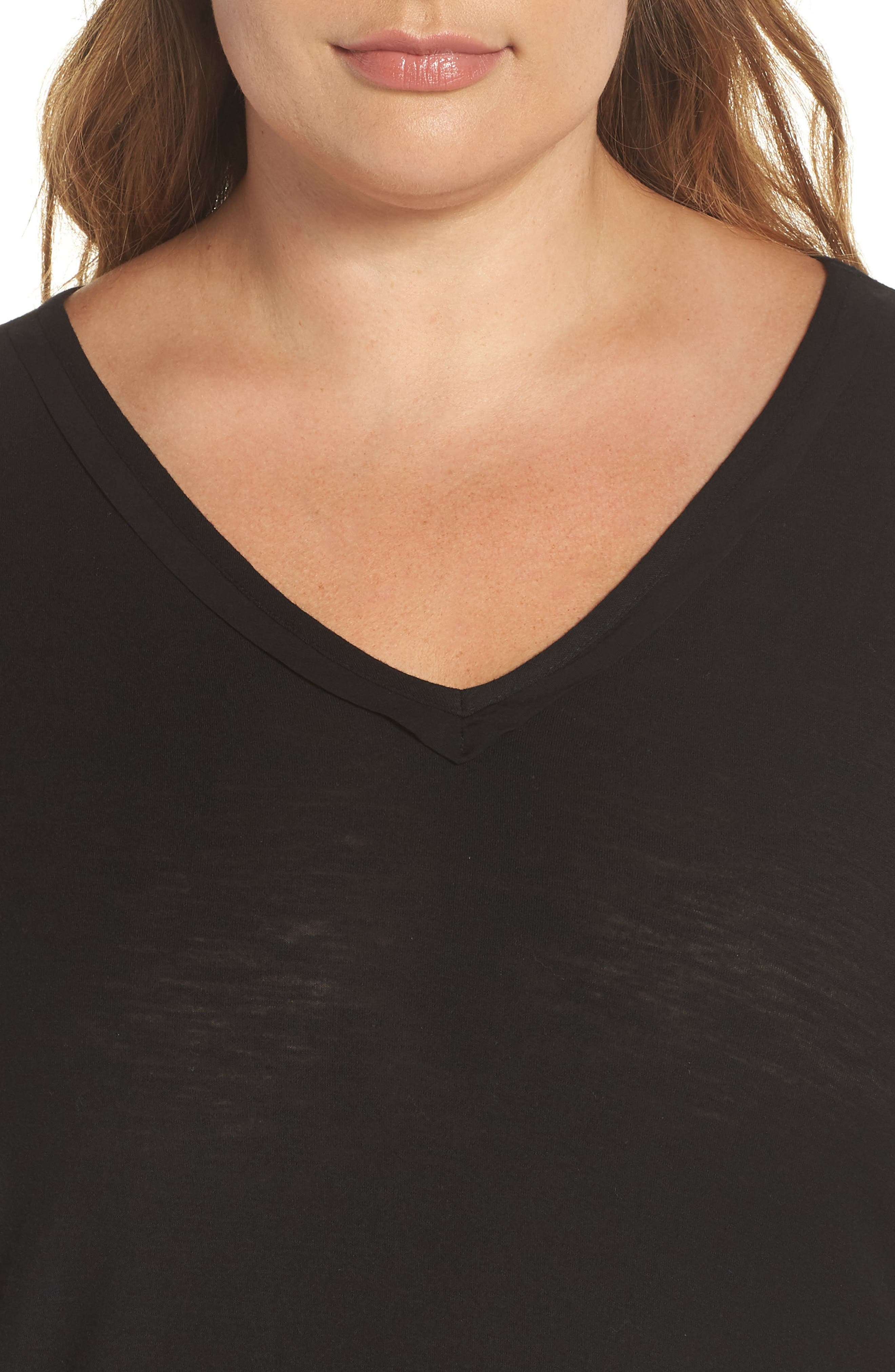 Woven Hem Layered Top,                             Alternate thumbnail 4, color,                             RICH BLACK
