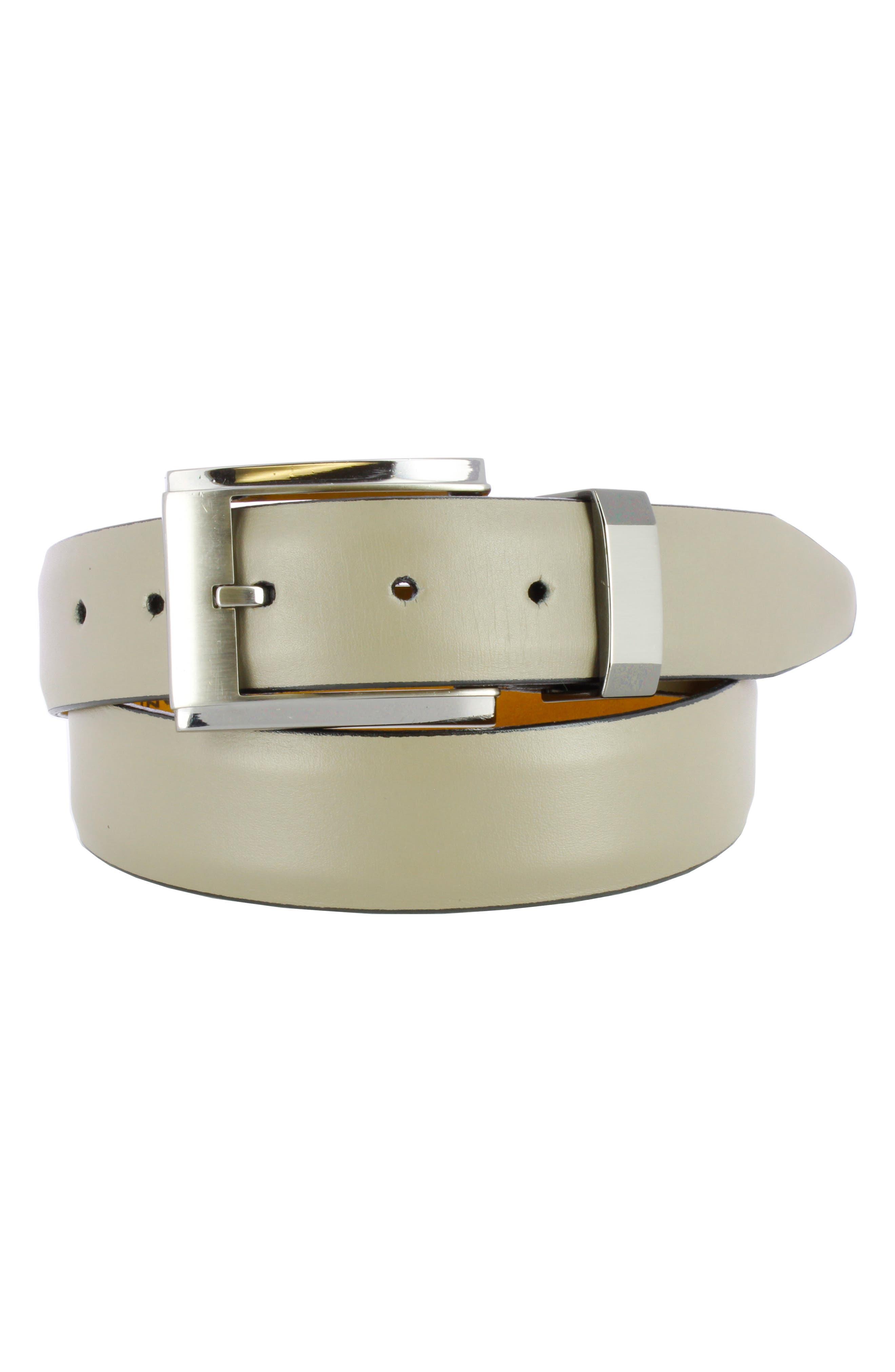 Luke Calfskin Leather Belt,                         Main,                         color, GREY