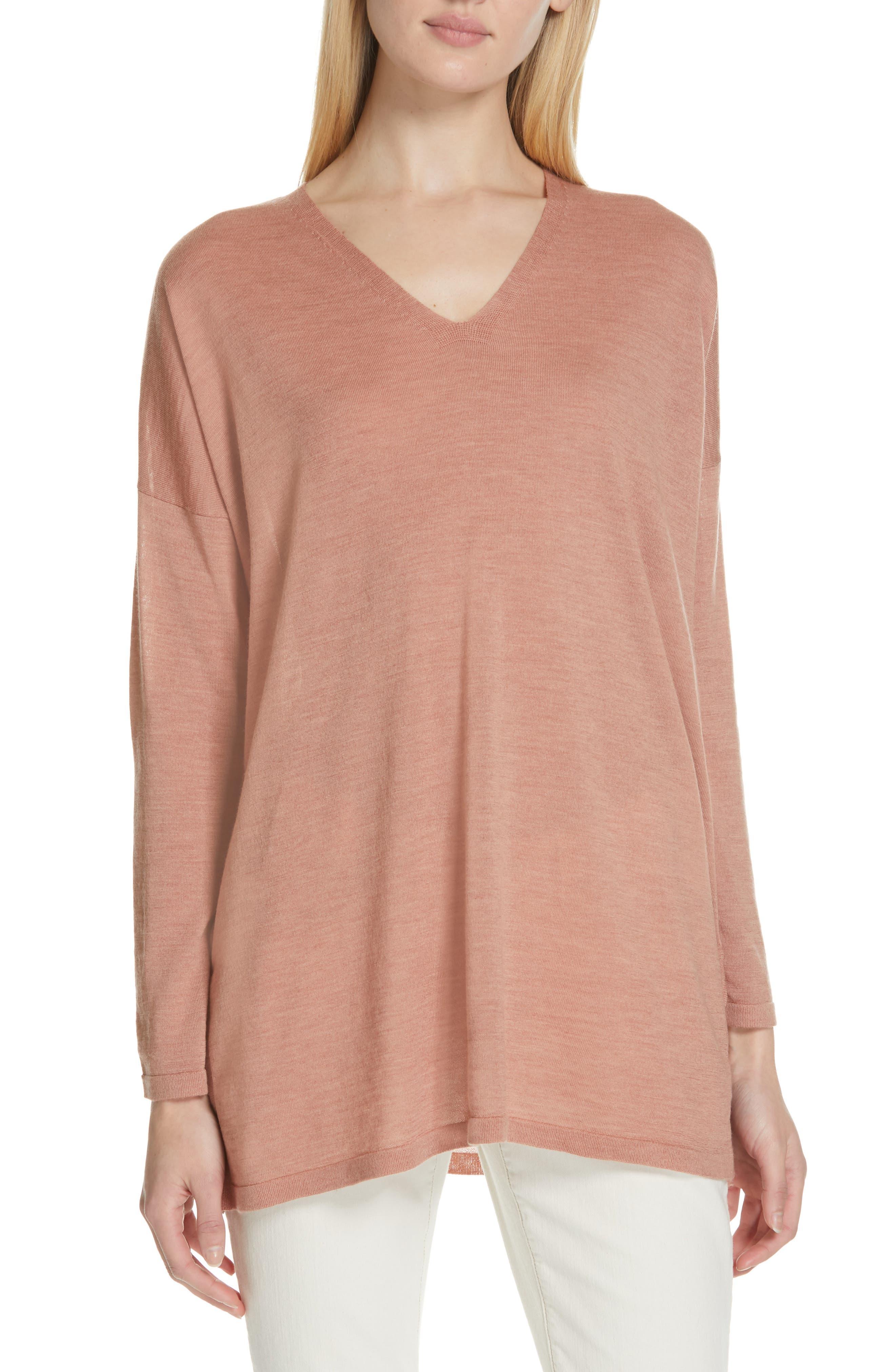 Eileen Fisher Merino Wool Tunic Sweater, Beige