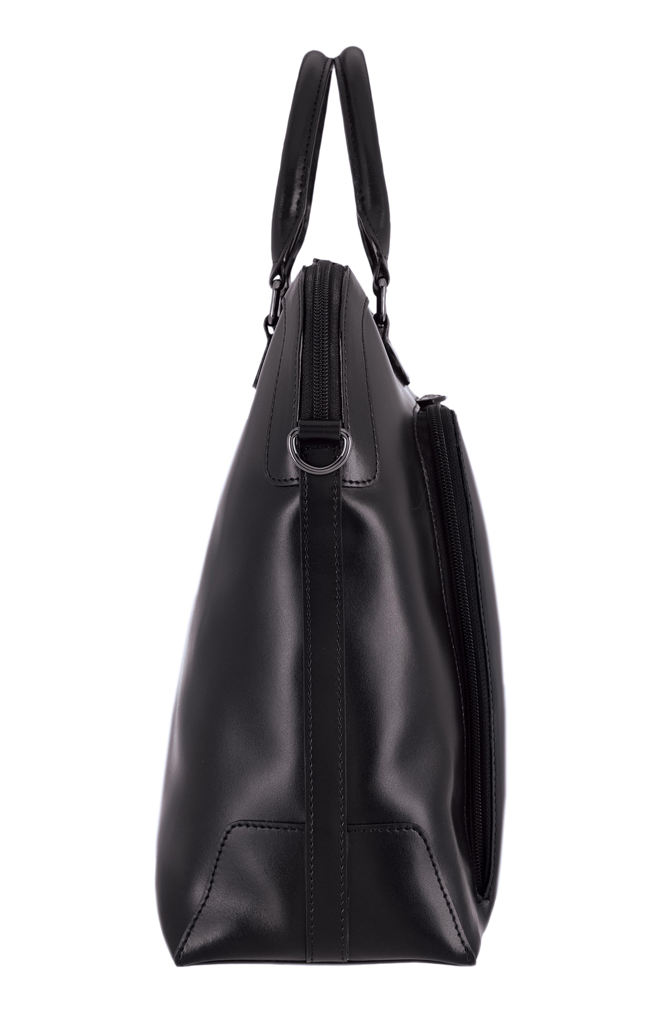 Audrey Under Lock & Key - Brera RFID Leather Briefcase,                             Alternate thumbnail 4, color,                             BLACK/ BLACK