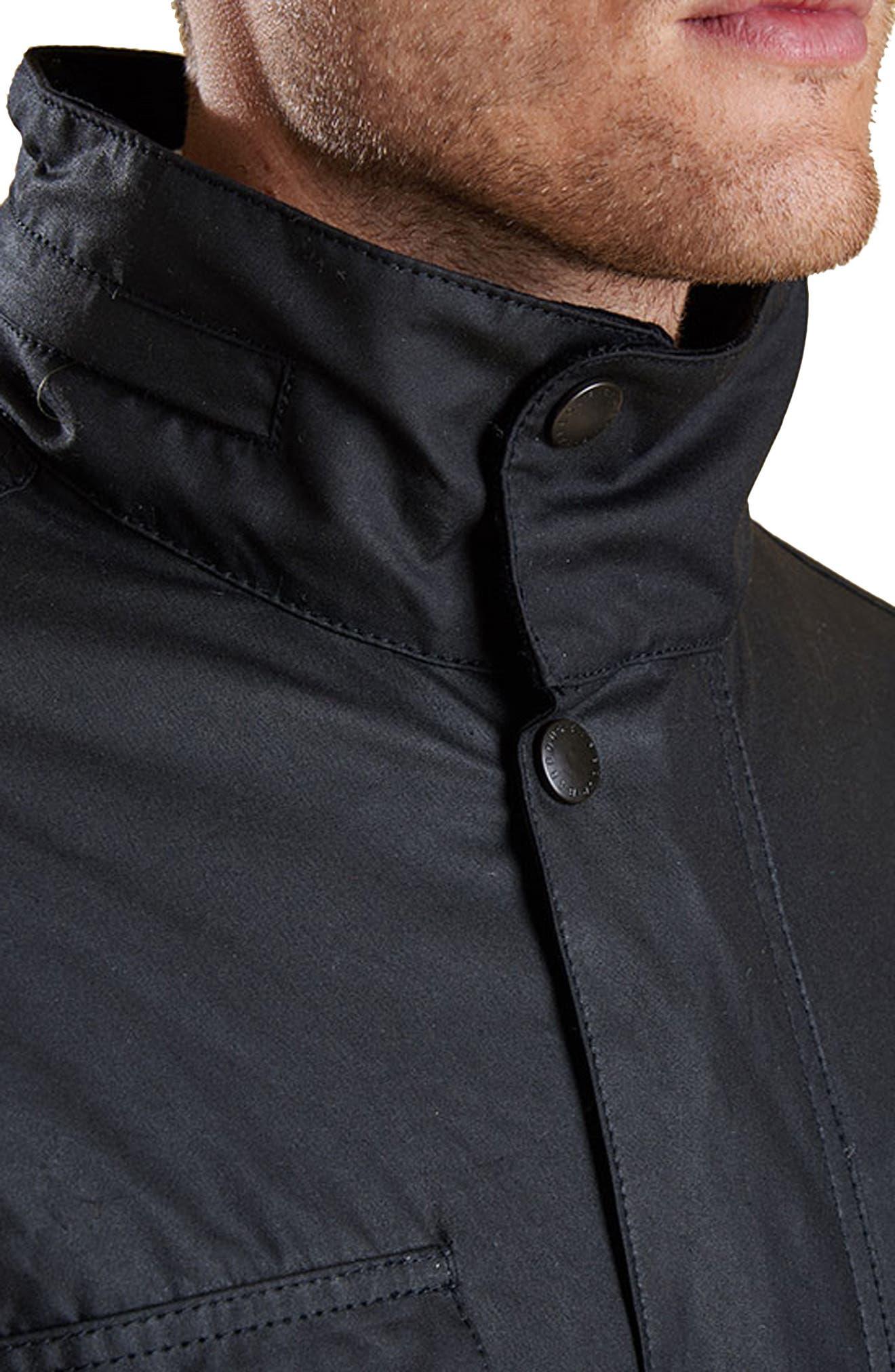 'Sapper' Regular Fit Waterproof Waxed Cotton Jacket,                             Alternate thumbnail 3, color,                             BLACK