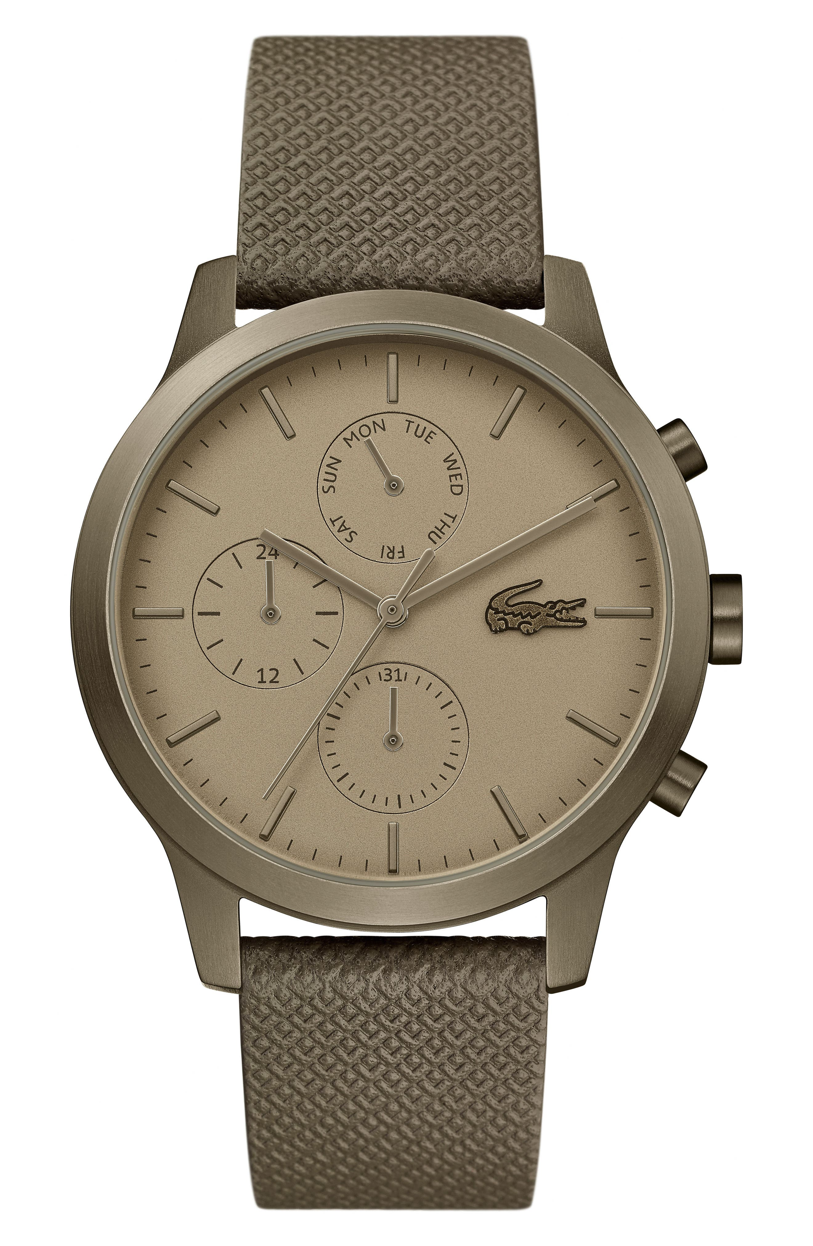12.12 Premium Chronograph Leather Strap Watch, 42mm, Main, color, OLIVE