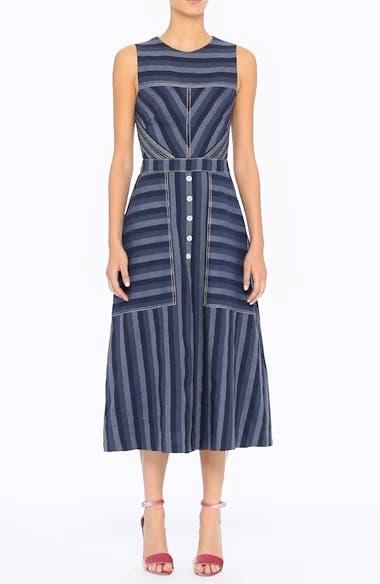 Stripe Denim Midi Dress, video thumbnail