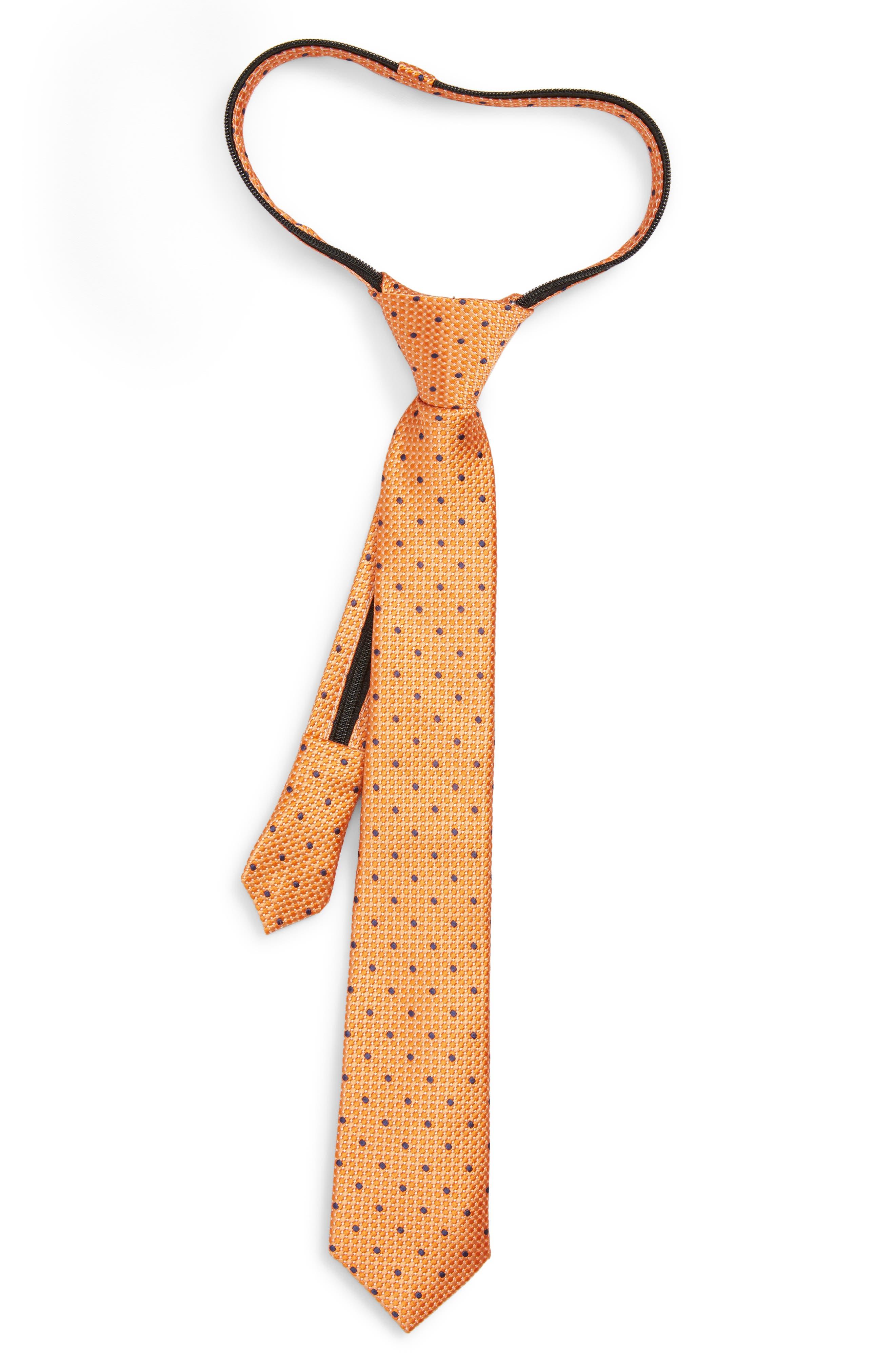 Dot Silk Zip Tie,                             Main thumbnail 1, color,                             ORANGE