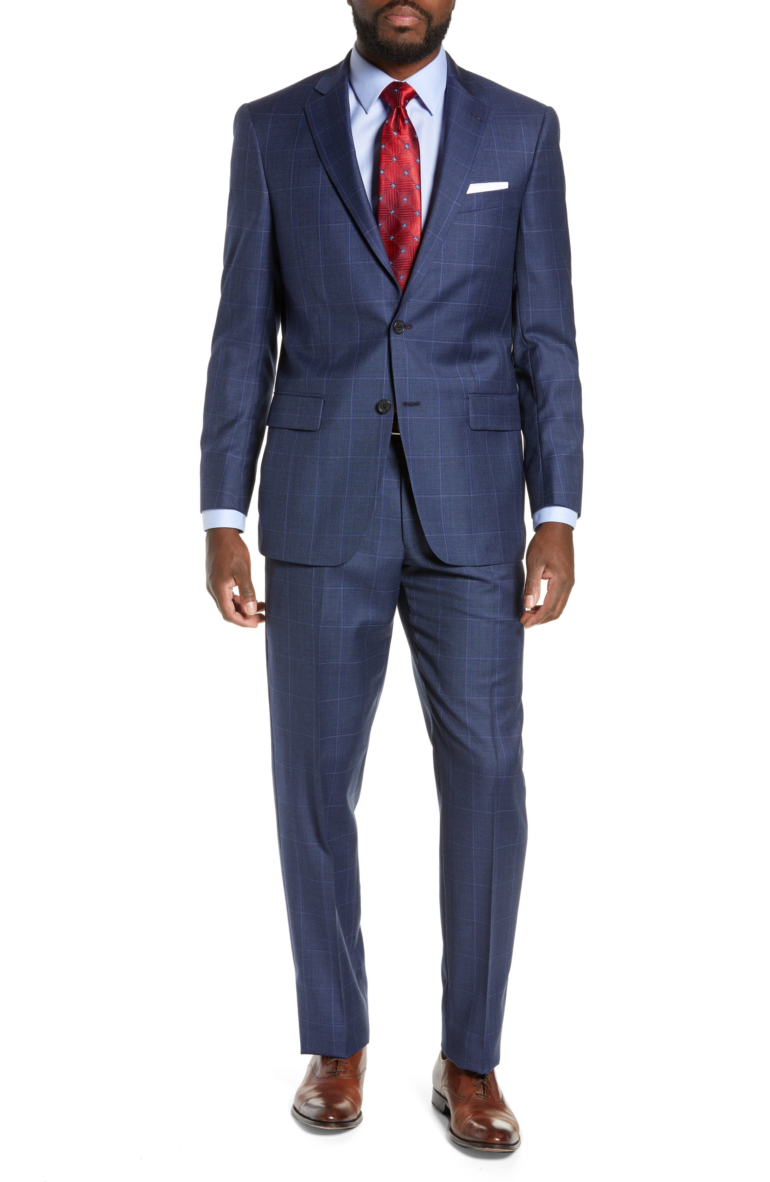 HART SCHAFFNER MARX New York Classic Fit Windowpane Wool Suit in Mid Blue
