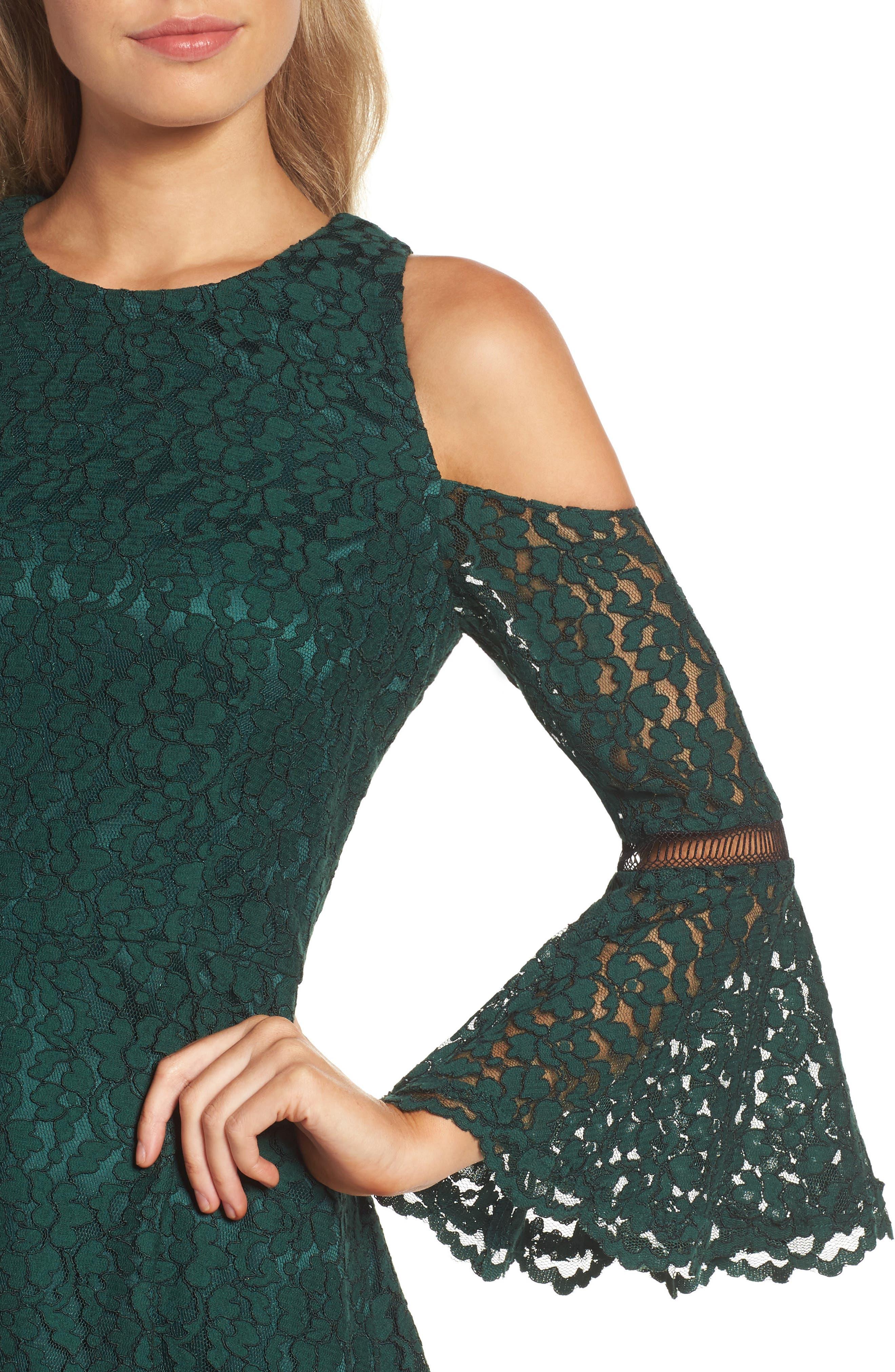 Bell Sleeve Cold Shoulder Fit & Flare Dress,                             Alternate thumbnail 4, color,                             310