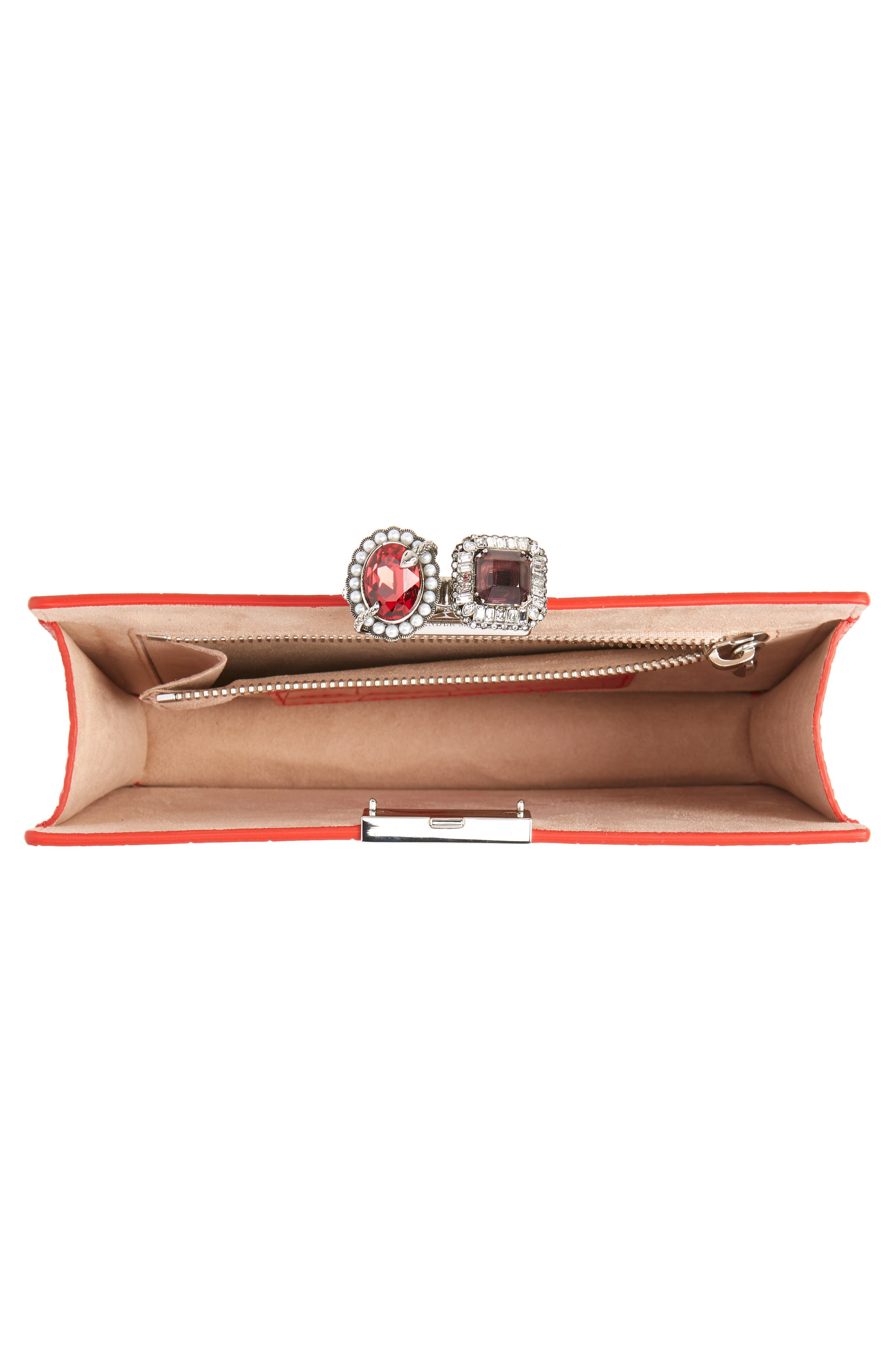 Croc Embossed Calfskin Leather Double Ring Clutch,                             Alternate thumbnail 4, color,                             LUST RED