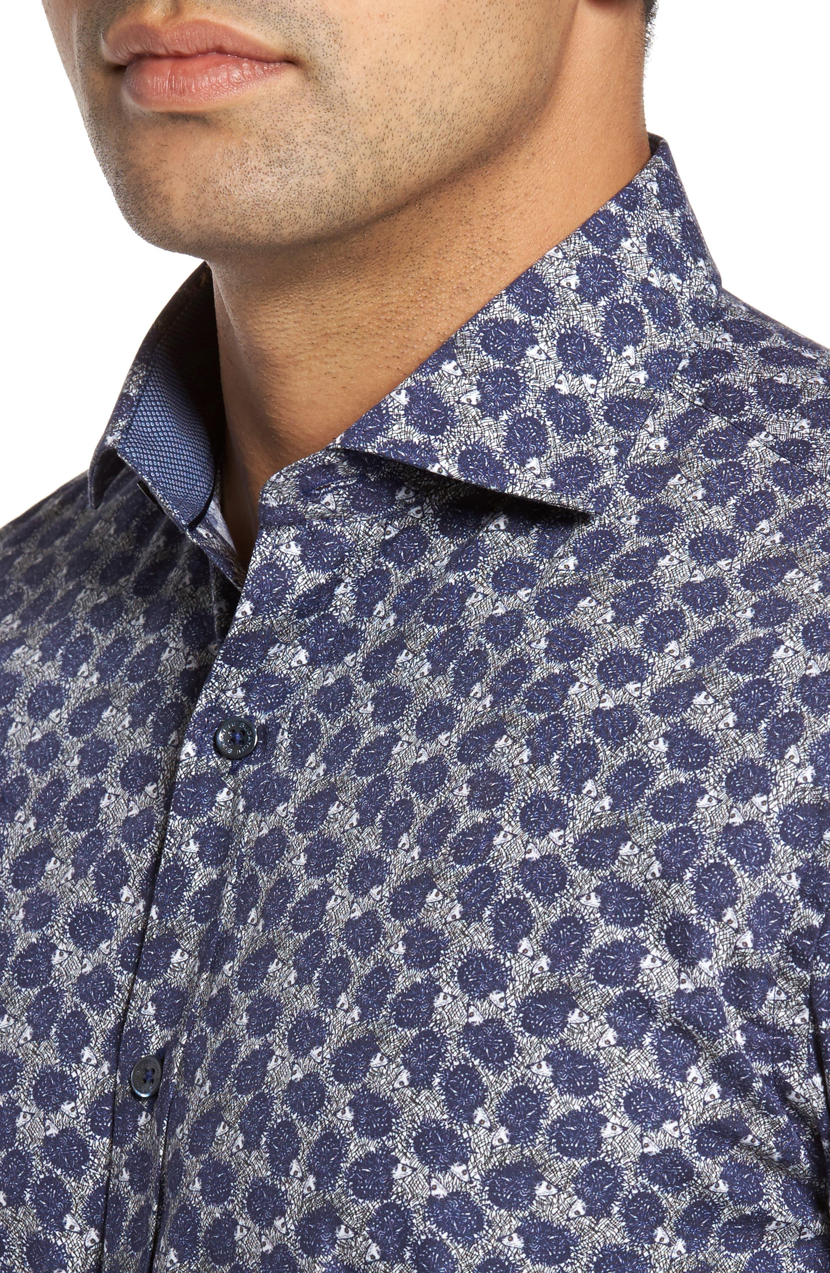 Shaped Fit Print Sport Shirt,                             Alternate thumbnail 4, color,                             408