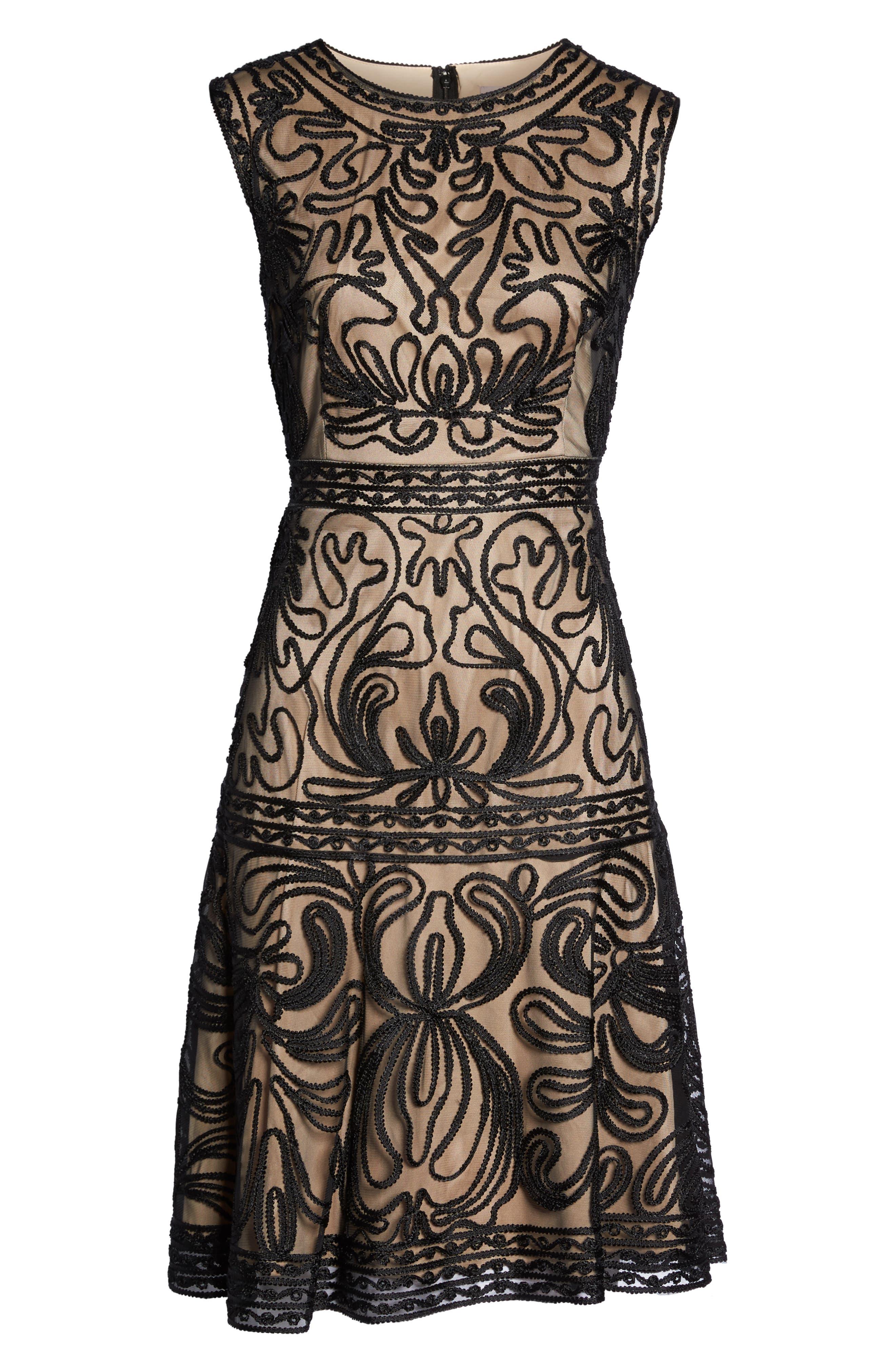 Soutache Fit & Flare Dress,                             Alternate thumbnail 6, color,                             001