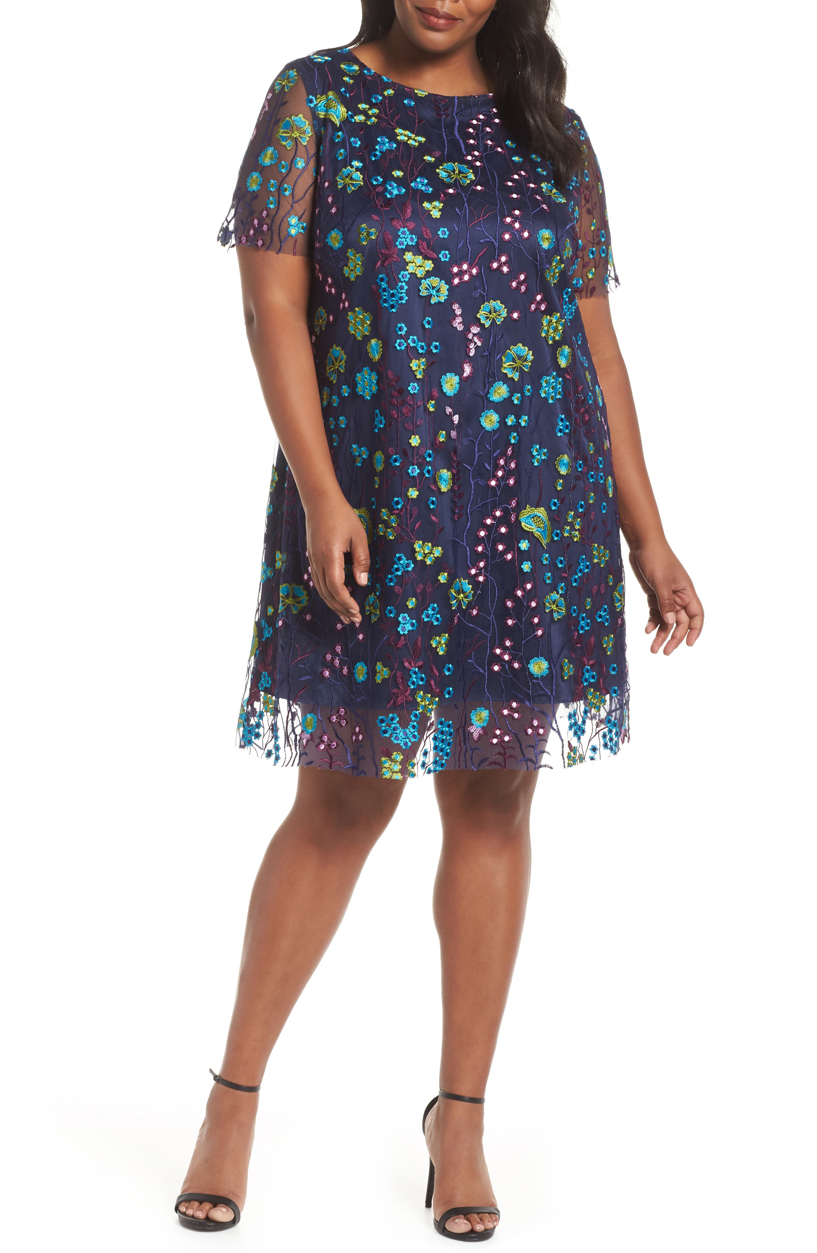 Mesh Embroidered Shift Dress,                         Main,                         color, 478