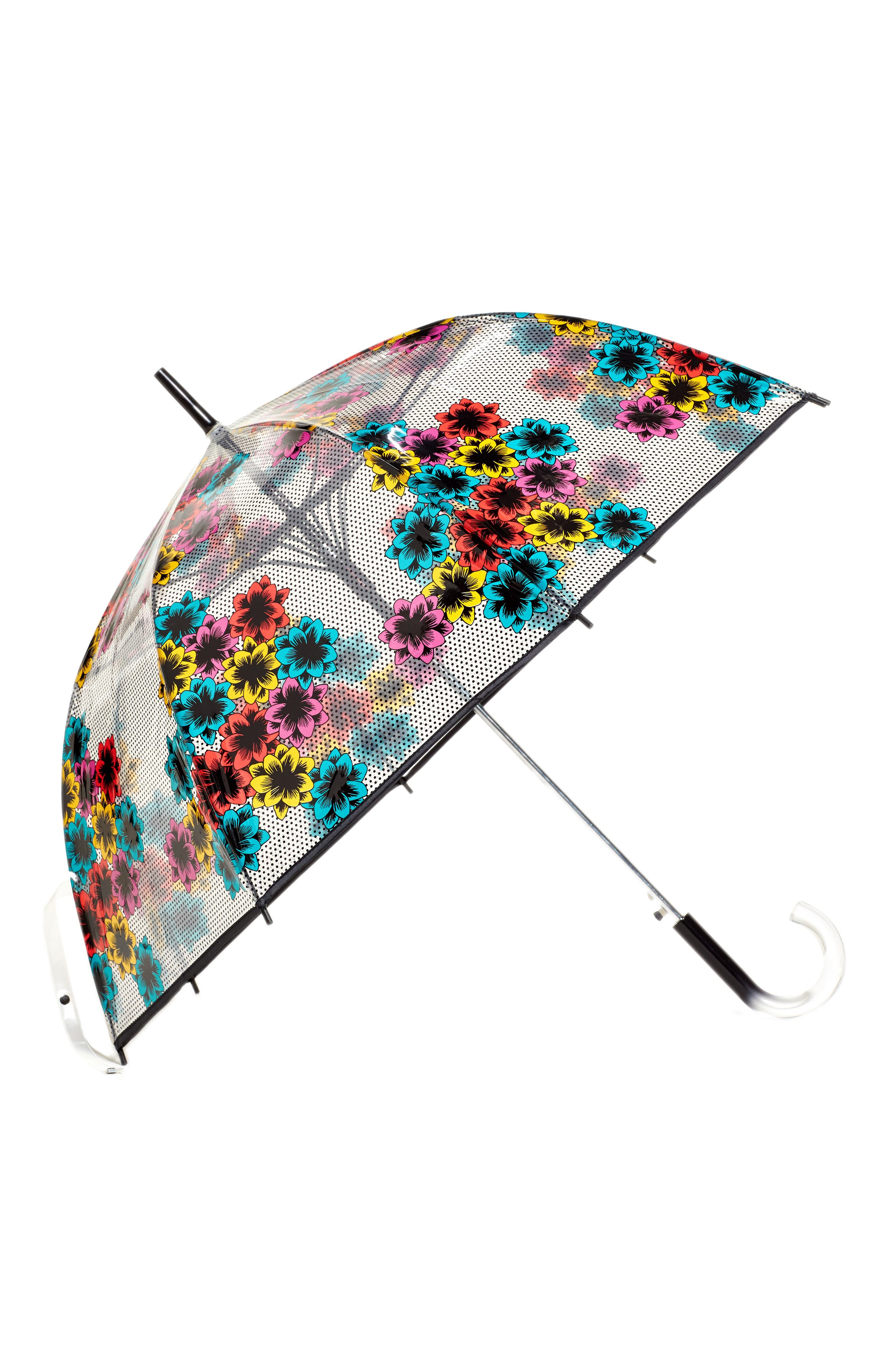 'The Bubble' Auto Open Stick Umbrella,                             Main thumbnail 1, color,                             NORD POP FLEUR