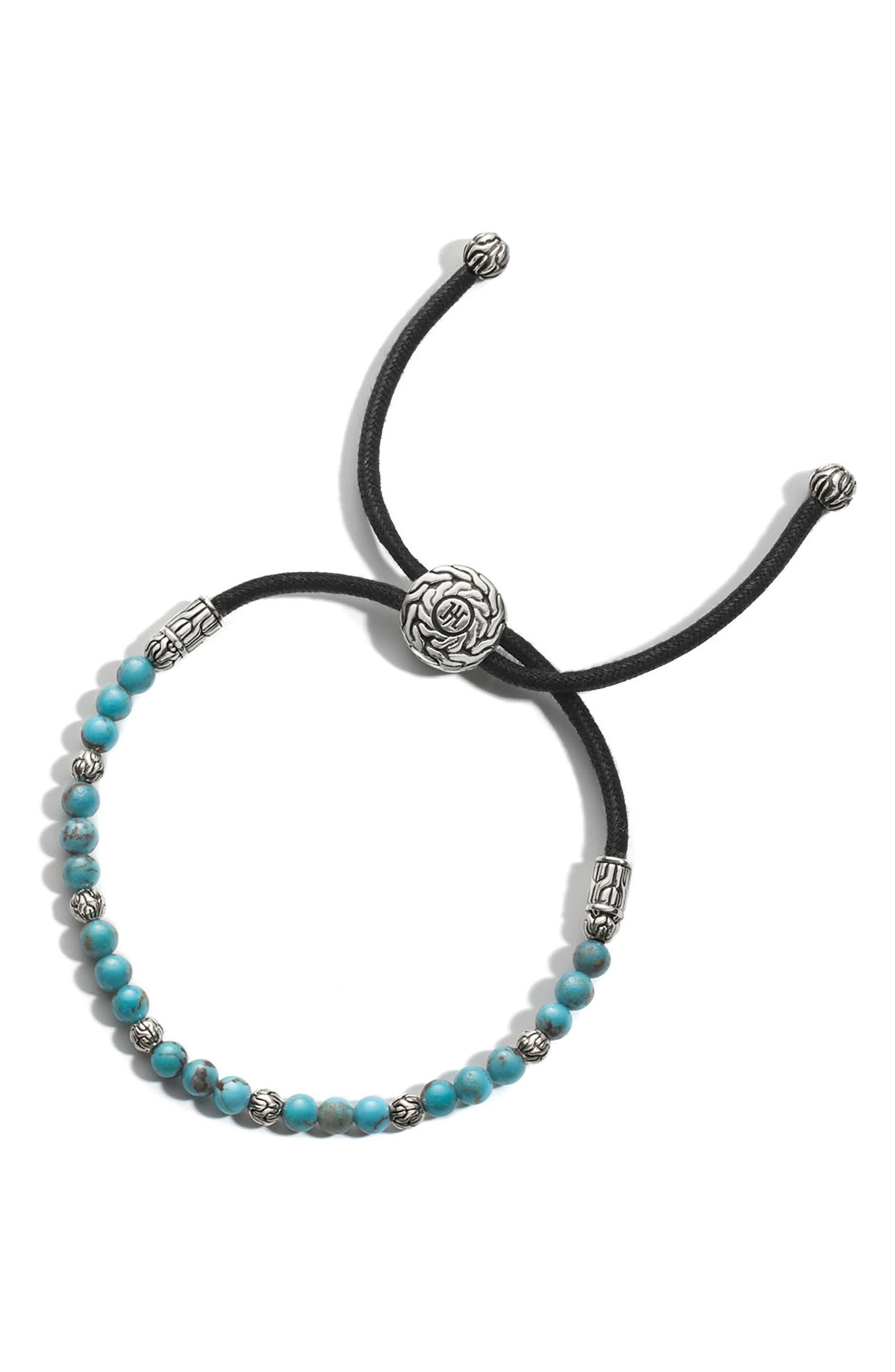 Men's Turquoise Bead Pull-Though Bracelet,                             Main thumbnail 1, color,