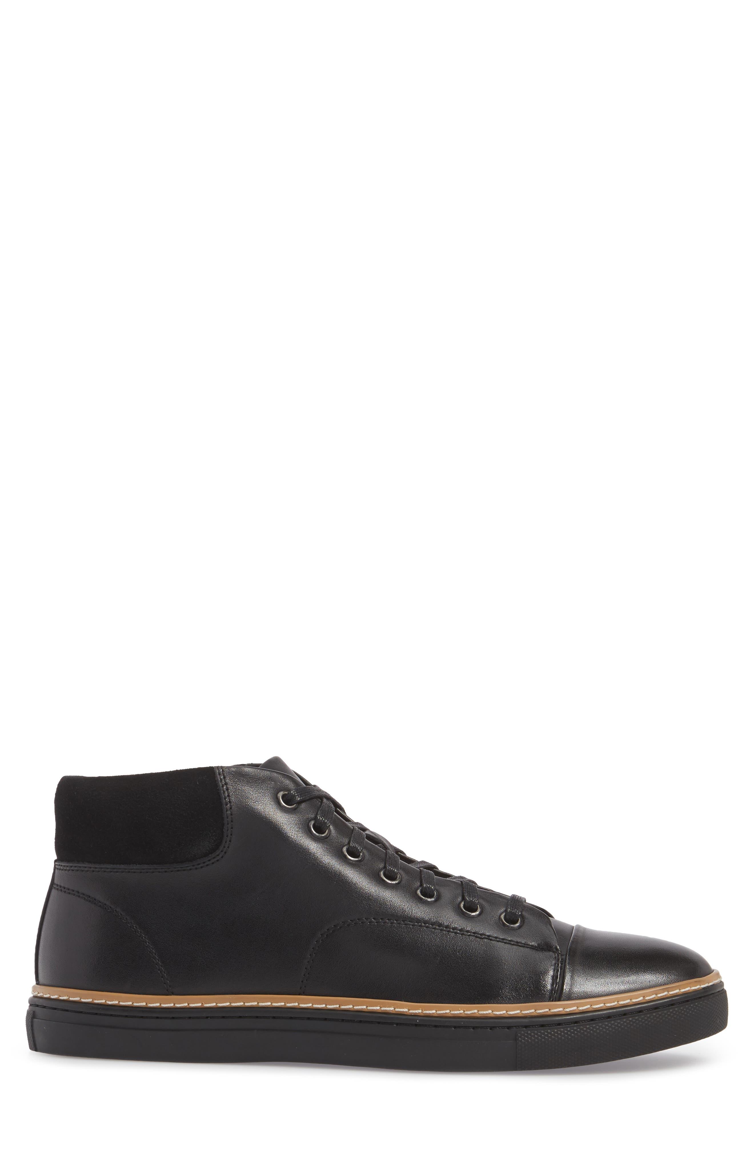 Grove Sneaker,                             Alternate thumbnail 3, color,                             BLACK LEATHER