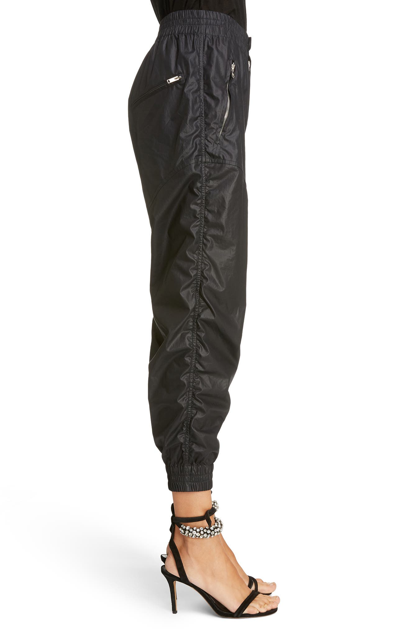 Coated Crop Jogger Pants,                             Alternate thumbnail 3, color,                             001