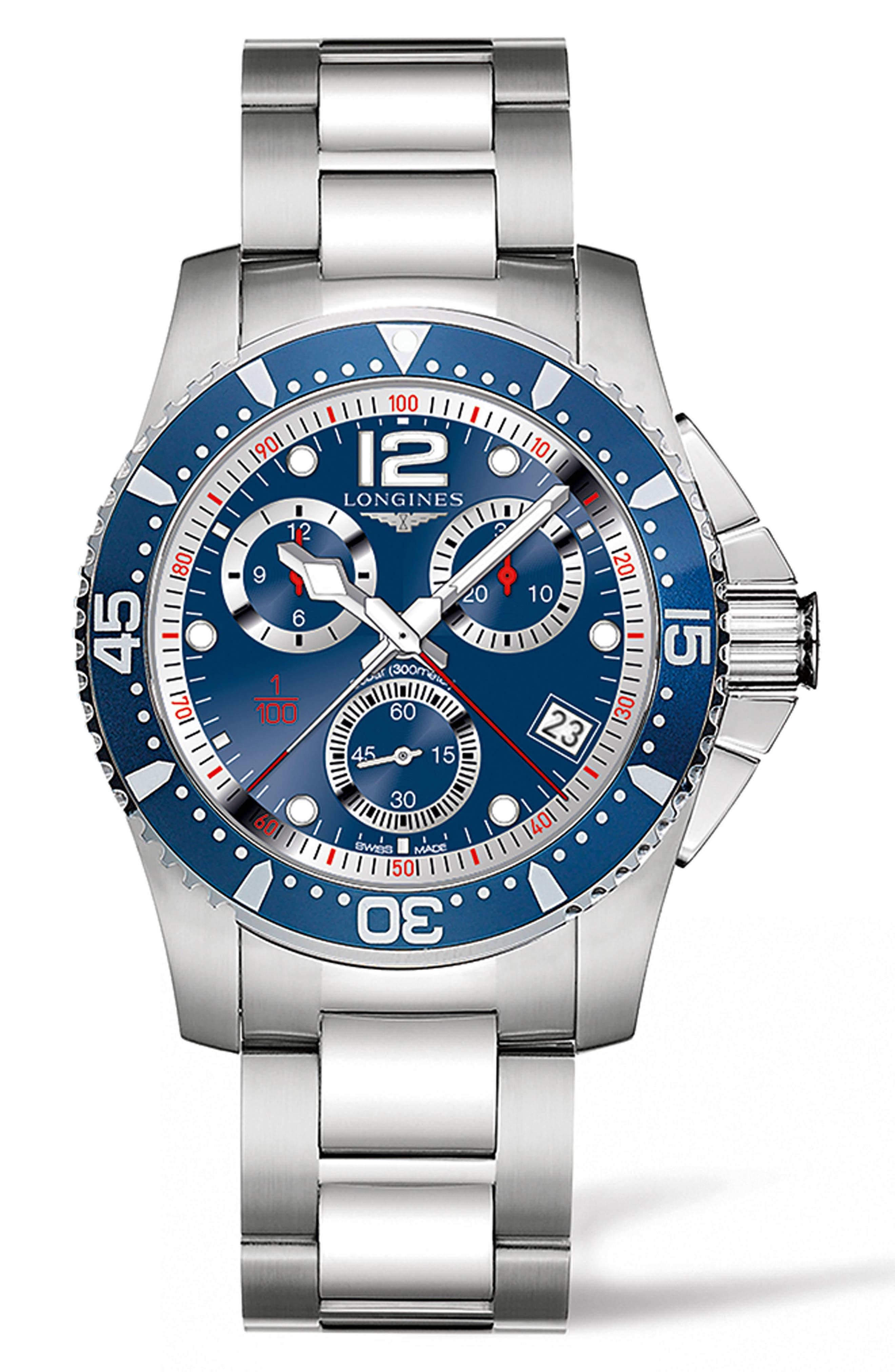HydroConquest Chronograph Bracelet Watch, 41mm,                             Main thumbnail 1, color,                             SILVER/ BLUE/ SILVER