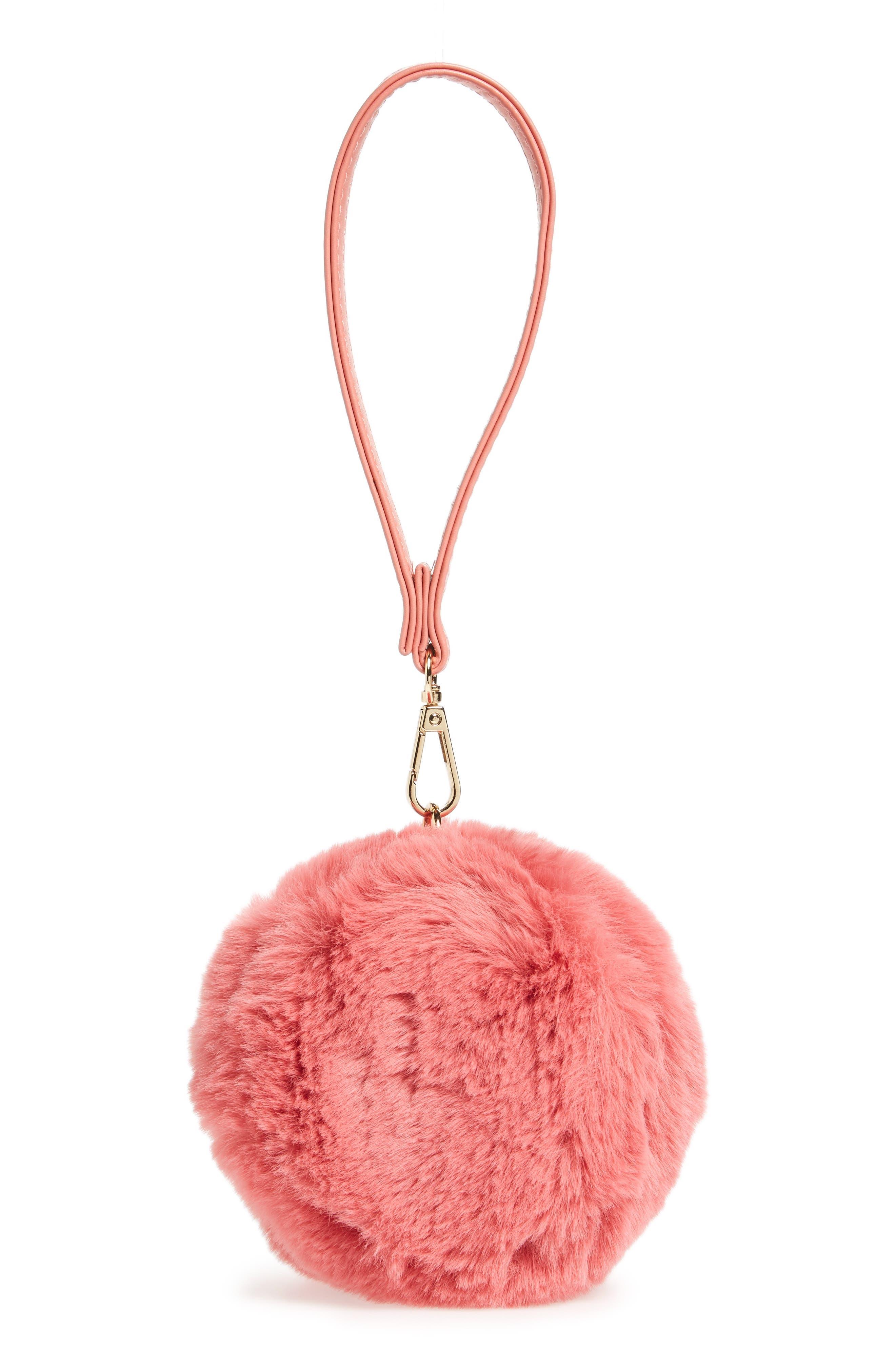 Macaron Faux Fur Wristlet,                         Main,                         color, 650