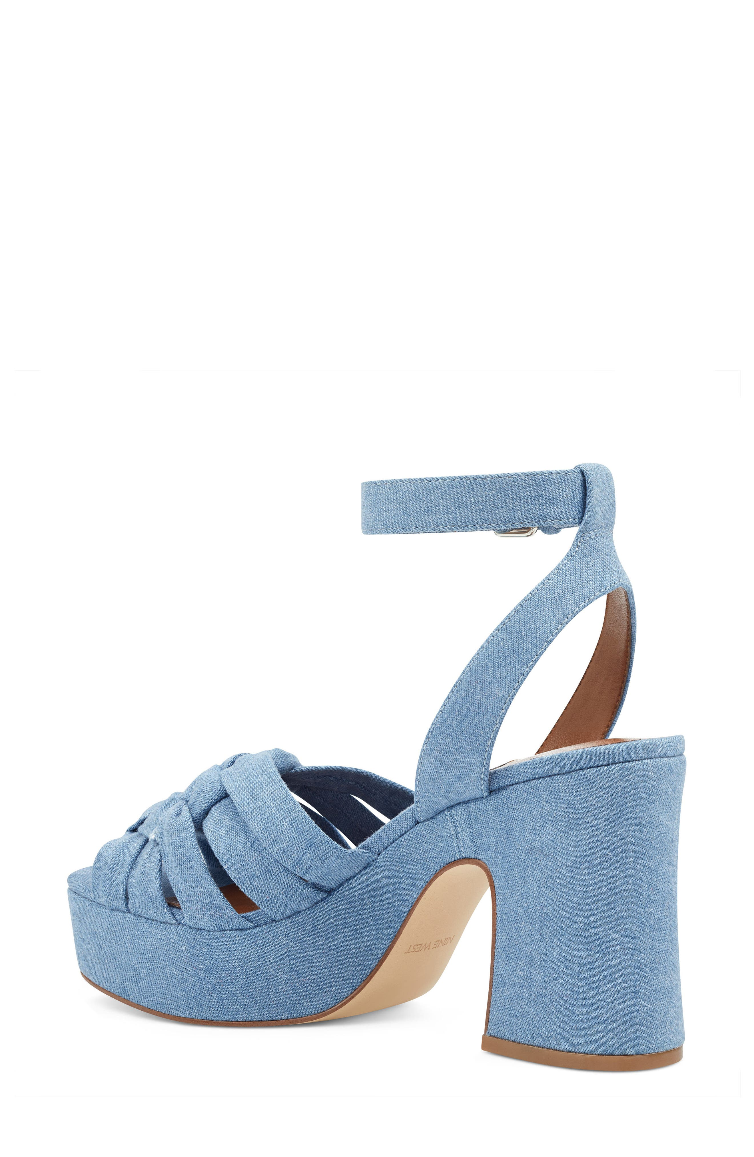 Fetuchini Platform Sandal,                             Alternate thumbnail 2, color,                             LIGHT BLUE DENIM