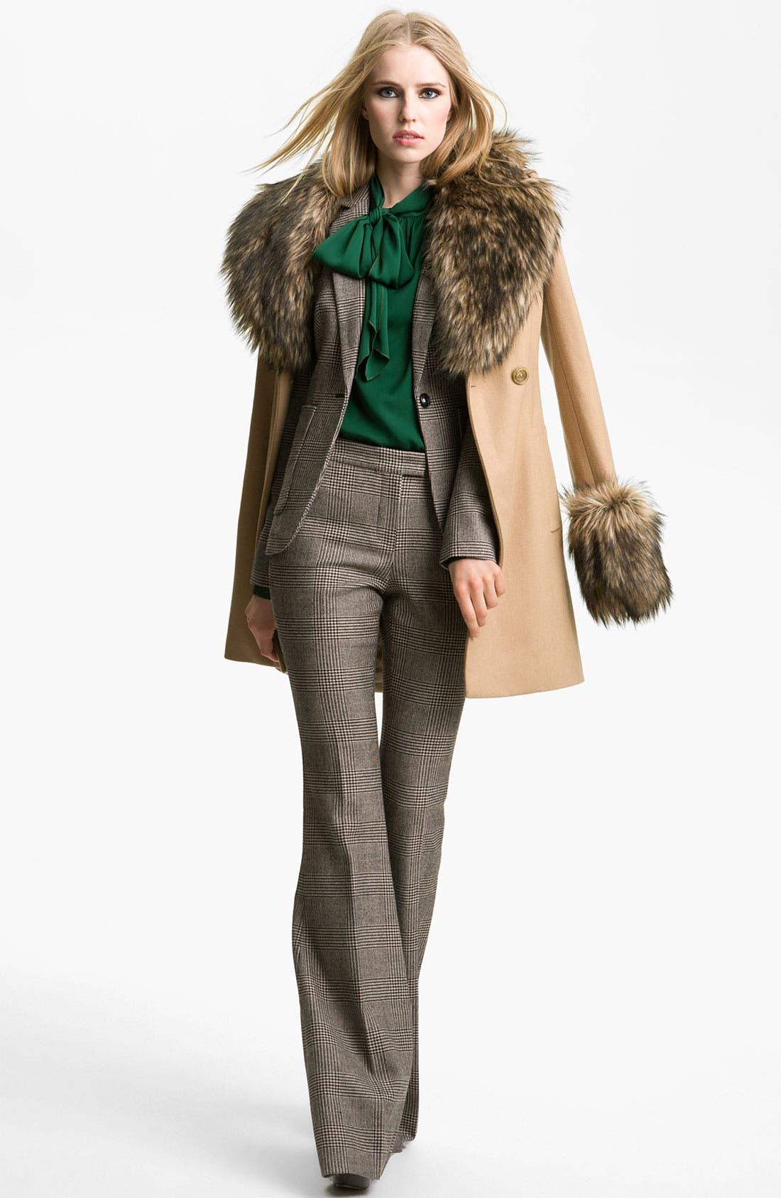 RACHEL ZOE 'Trish' Faux Fur Trim Peacoat, Main, color, 230