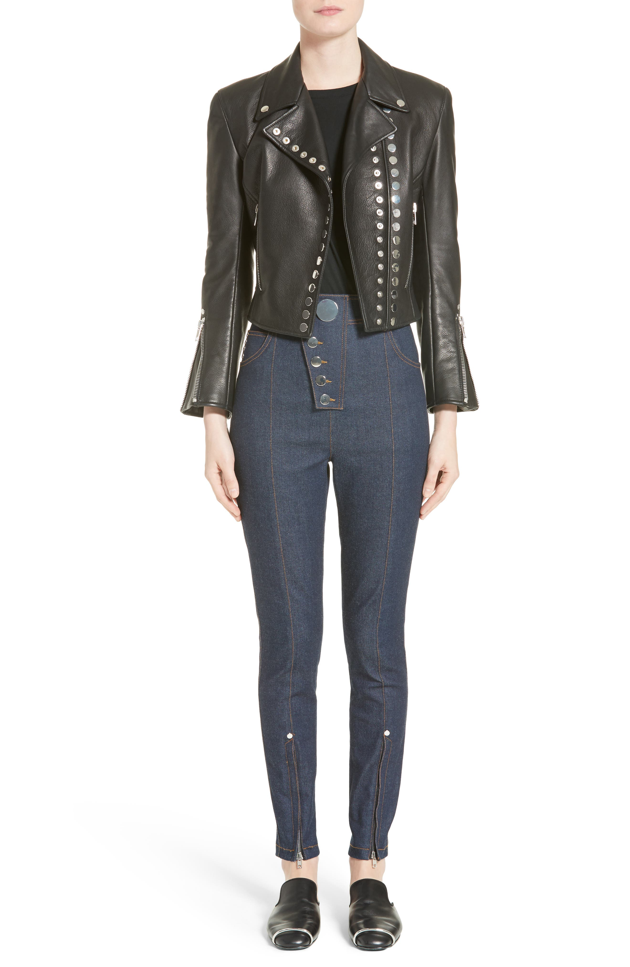 Snap Leather Moto Jacket,                             Alternate thumbnail 7, color,                             001