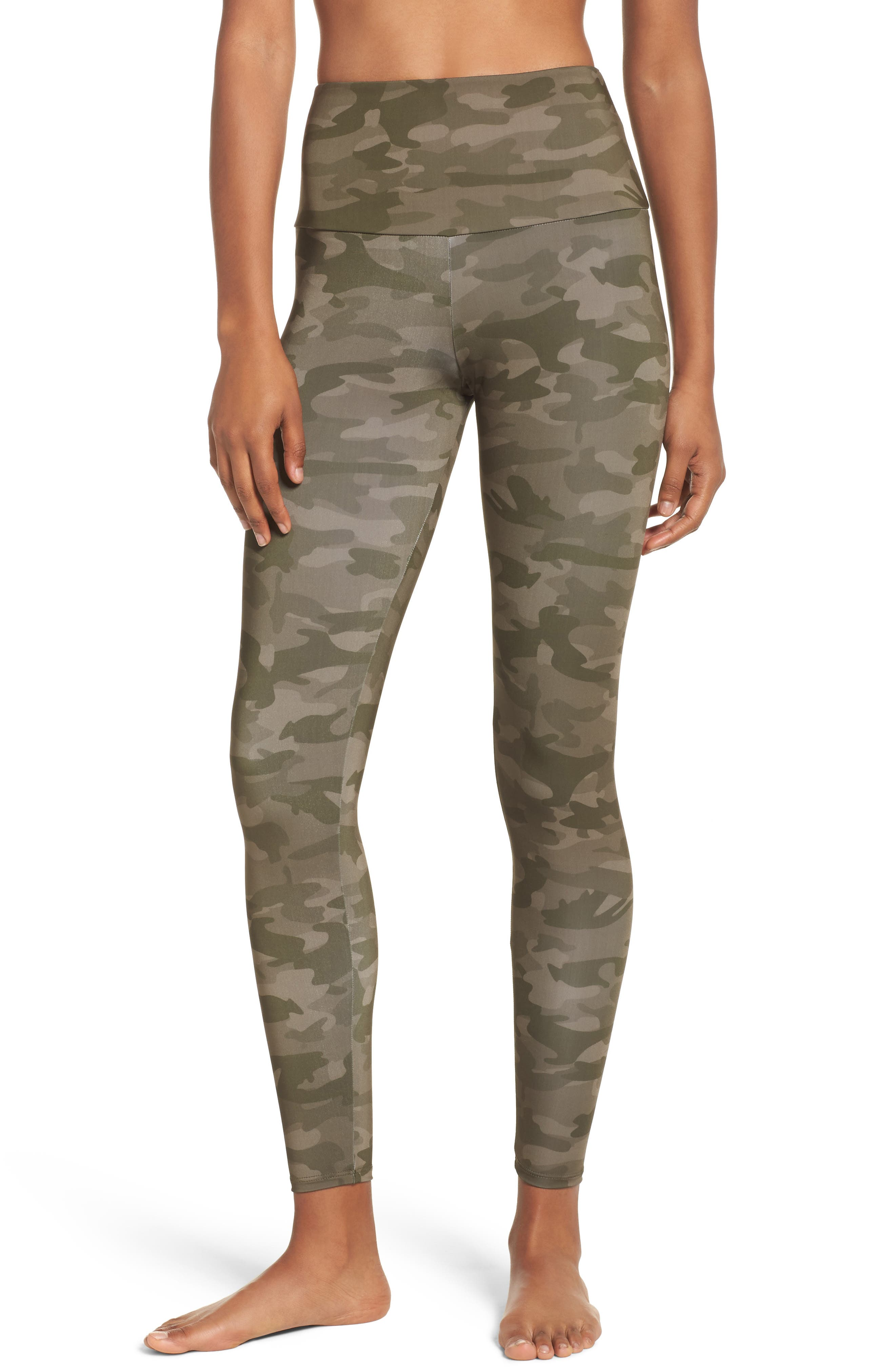 High Waist Print Leggings,                             Main thumbnail 1, color,                             MOSS CAMO