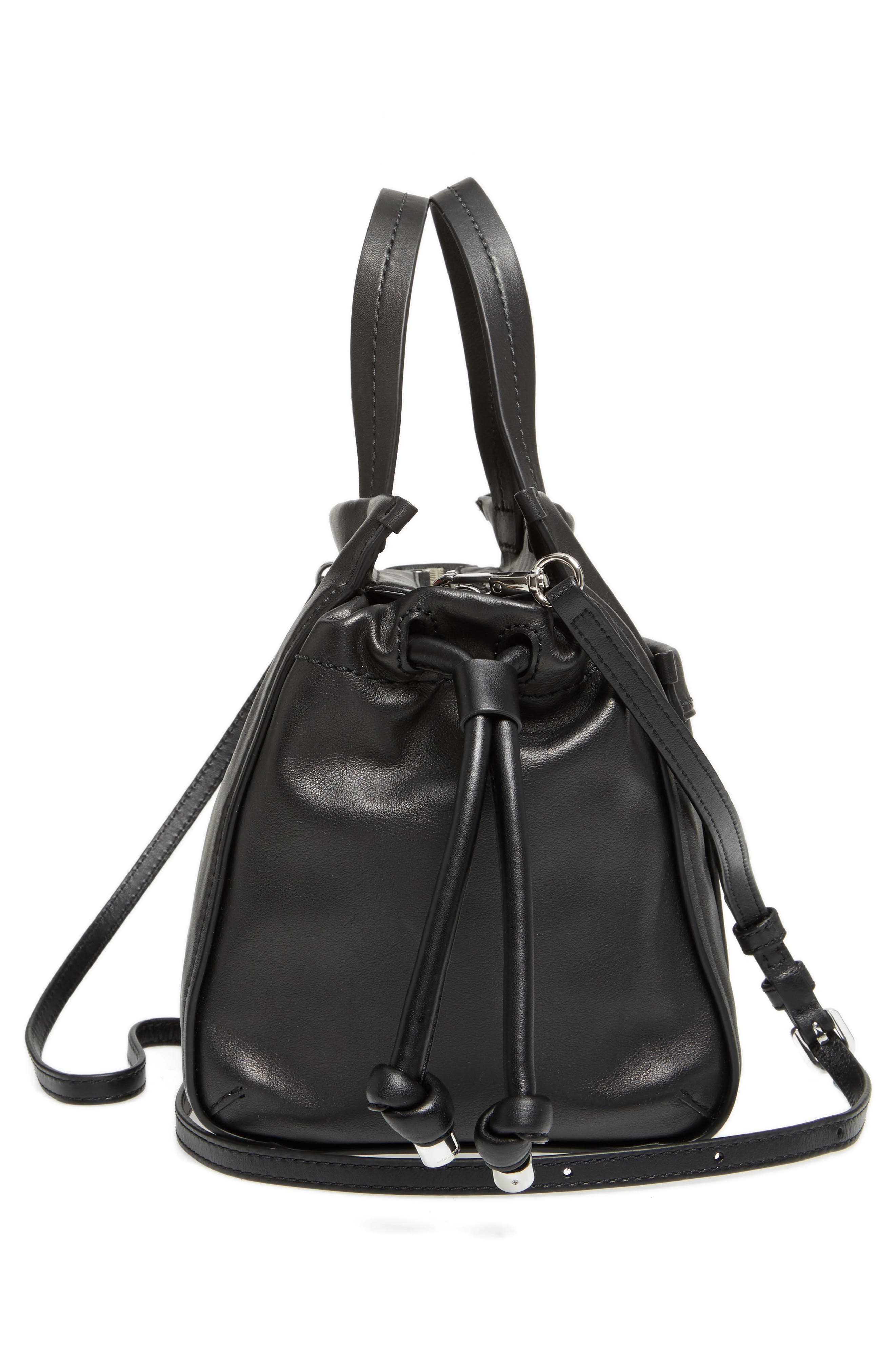 Tied Up Leather Shoulder/Crossbody Tote,                             Alternate thumbnail 5, color,                             001