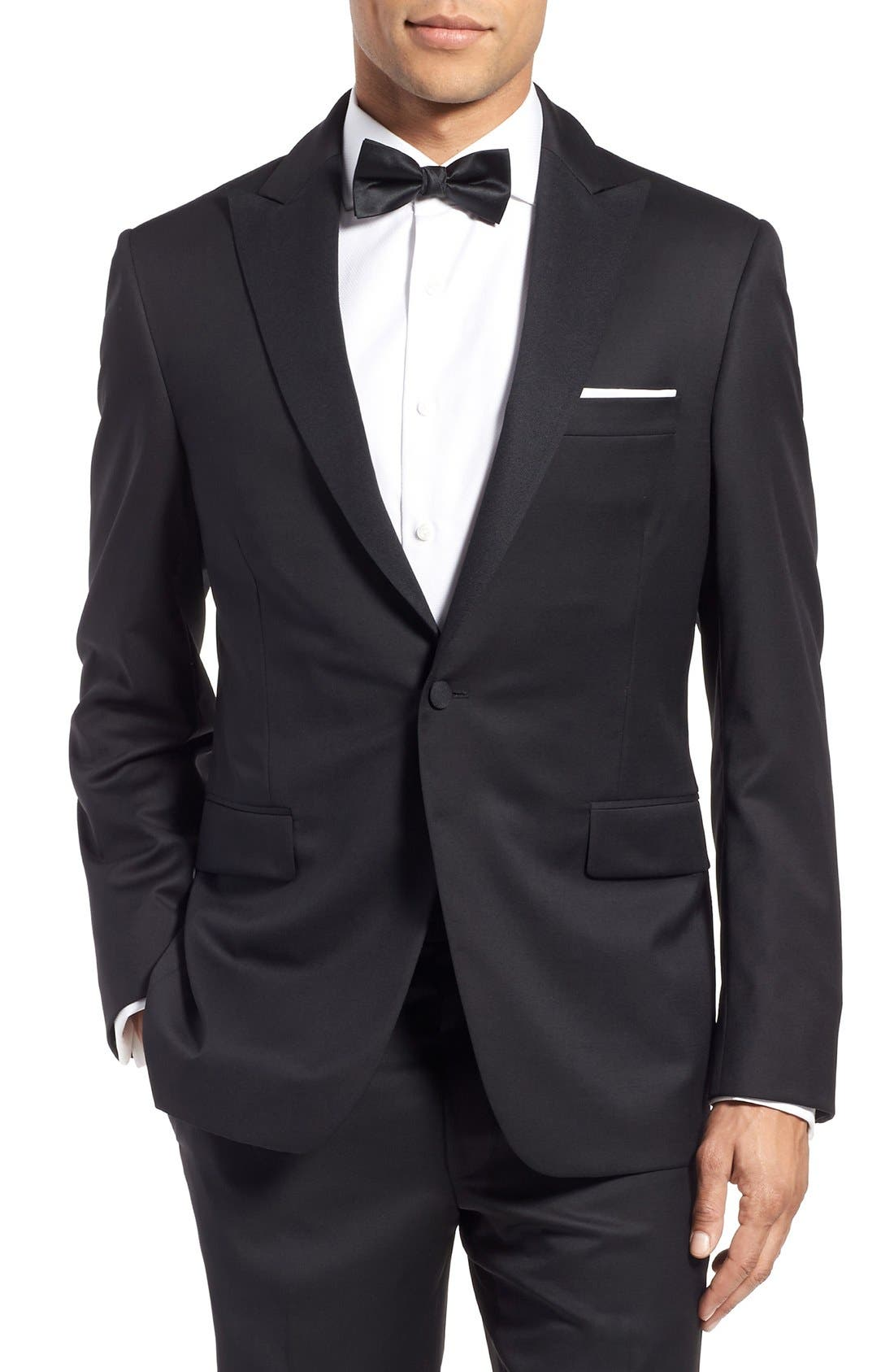 Classic Fit Wool Tuxedo,                             Alternate thumbnail 5, color,                             001