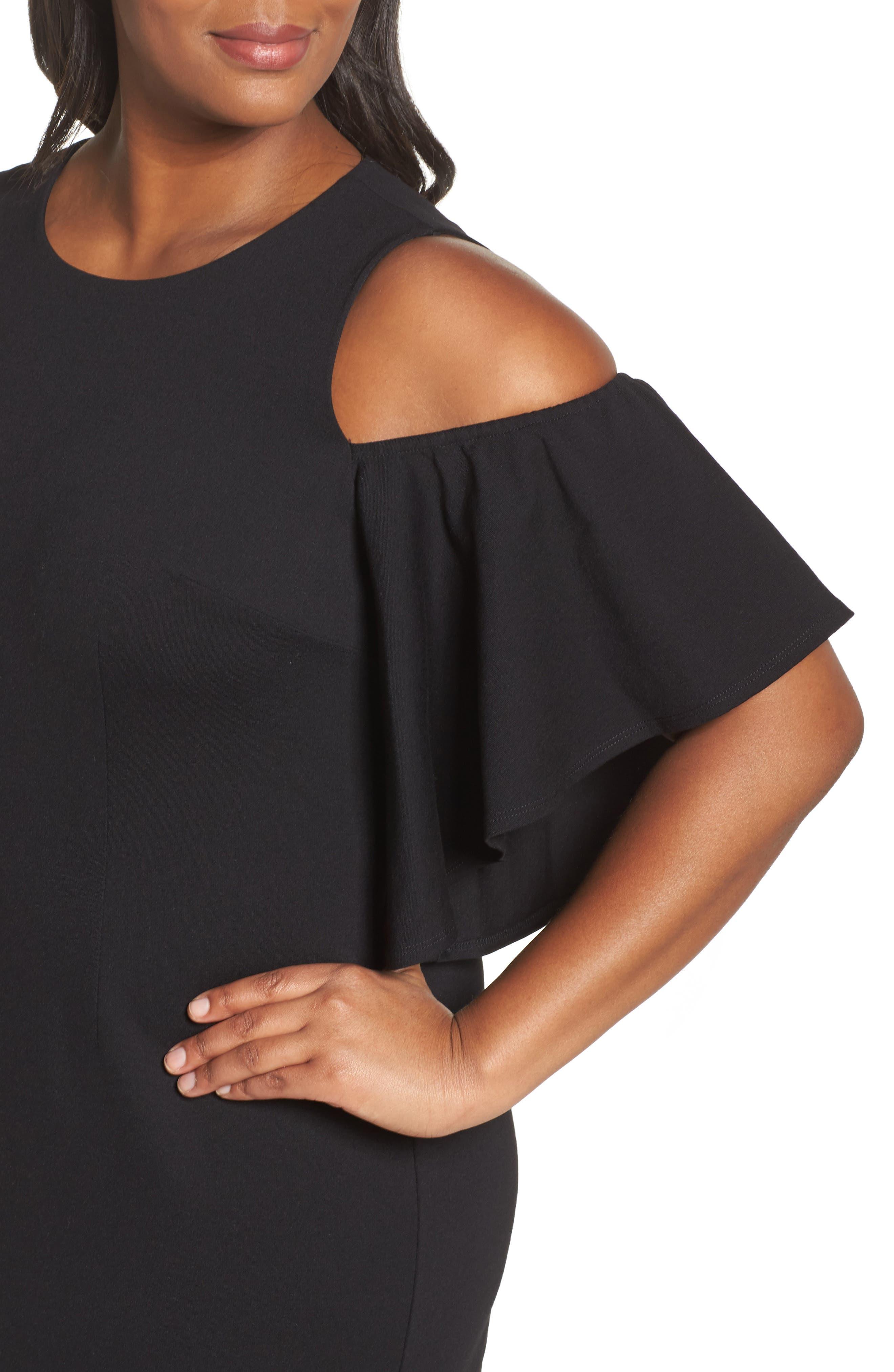 Cold Shoulder Sheath Dress,                             Alternate thumbnail 4, color,                             001