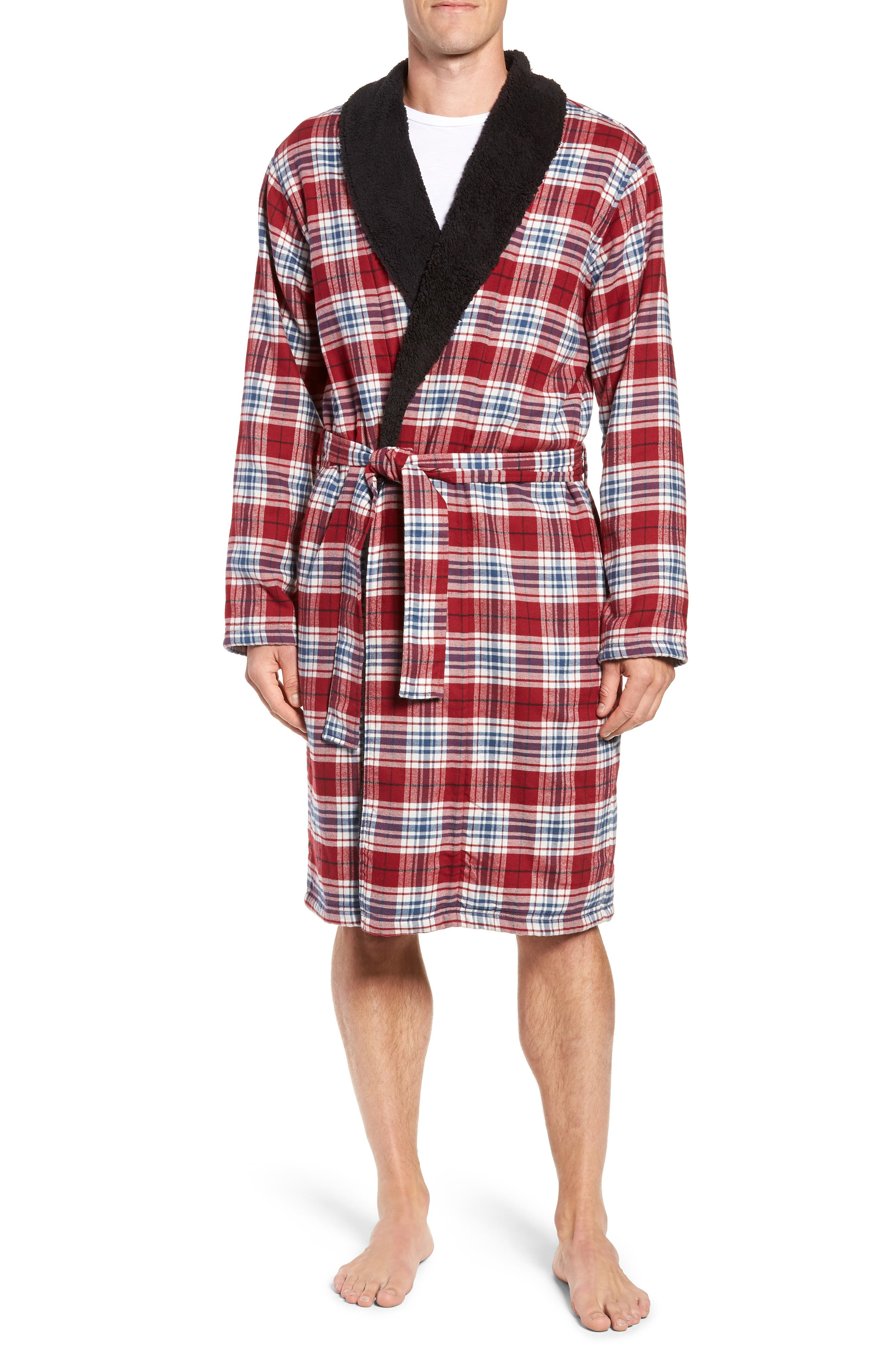 Men'S Kalib Sherpa-Lined Plaid Robe in Chili Pepper Plaid