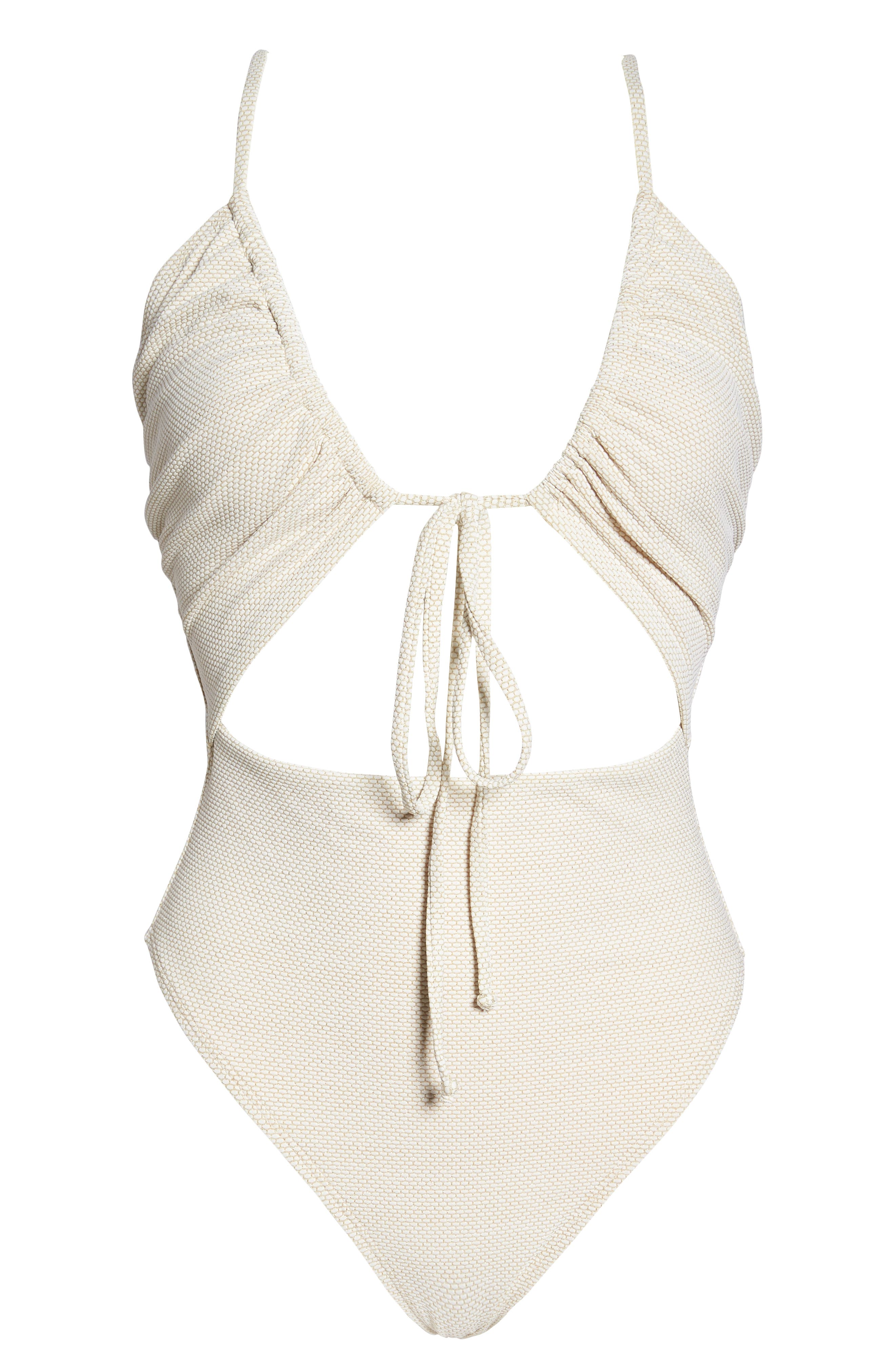South Beach One-Piece Swimsuit,                             Alternate thumbnail 6, color,                             IVORY EGRET