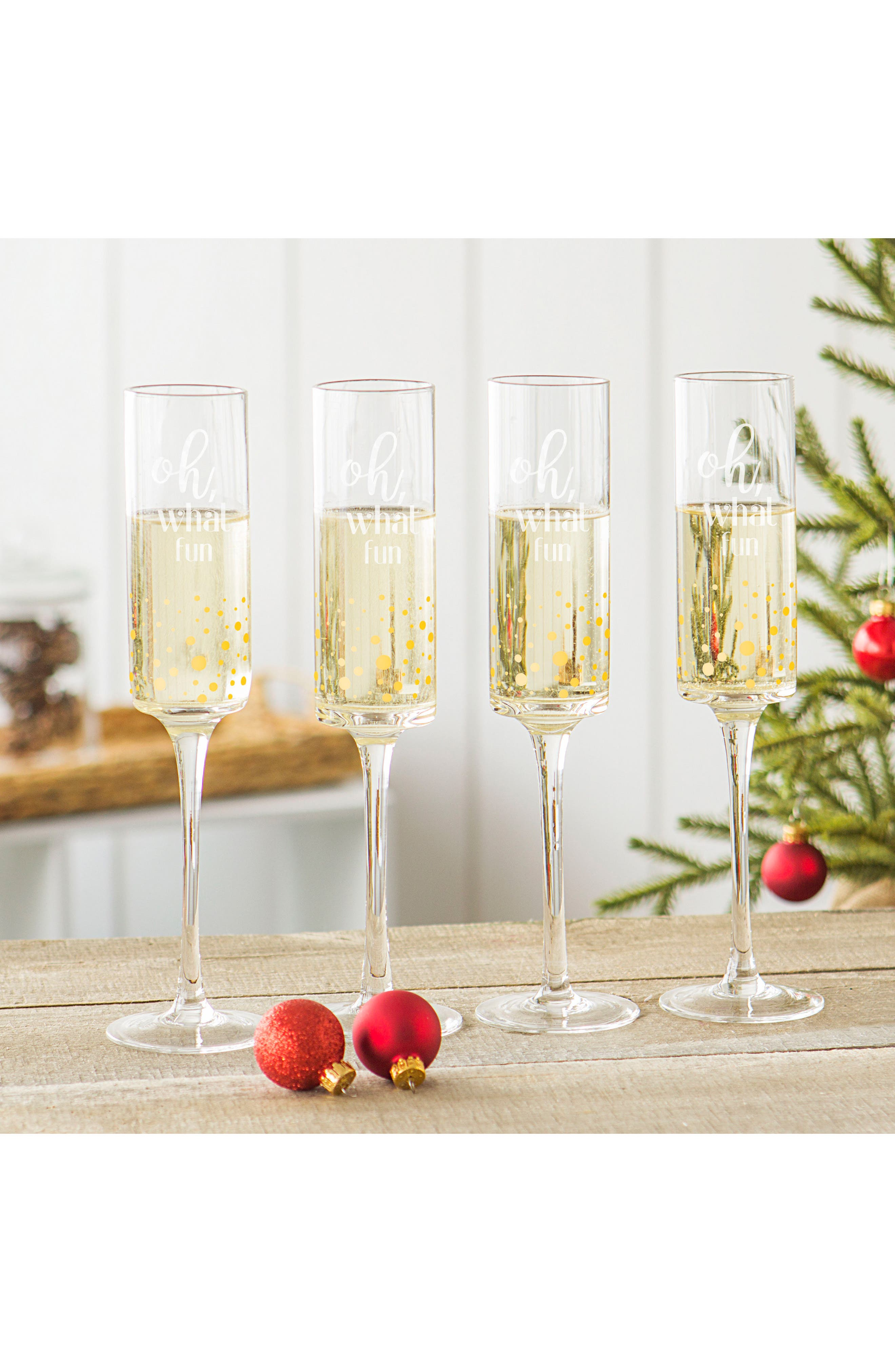 Oh What Fun Set of 4 Champagne Flutes,                             Alternate thumbnail 2, color,                             710