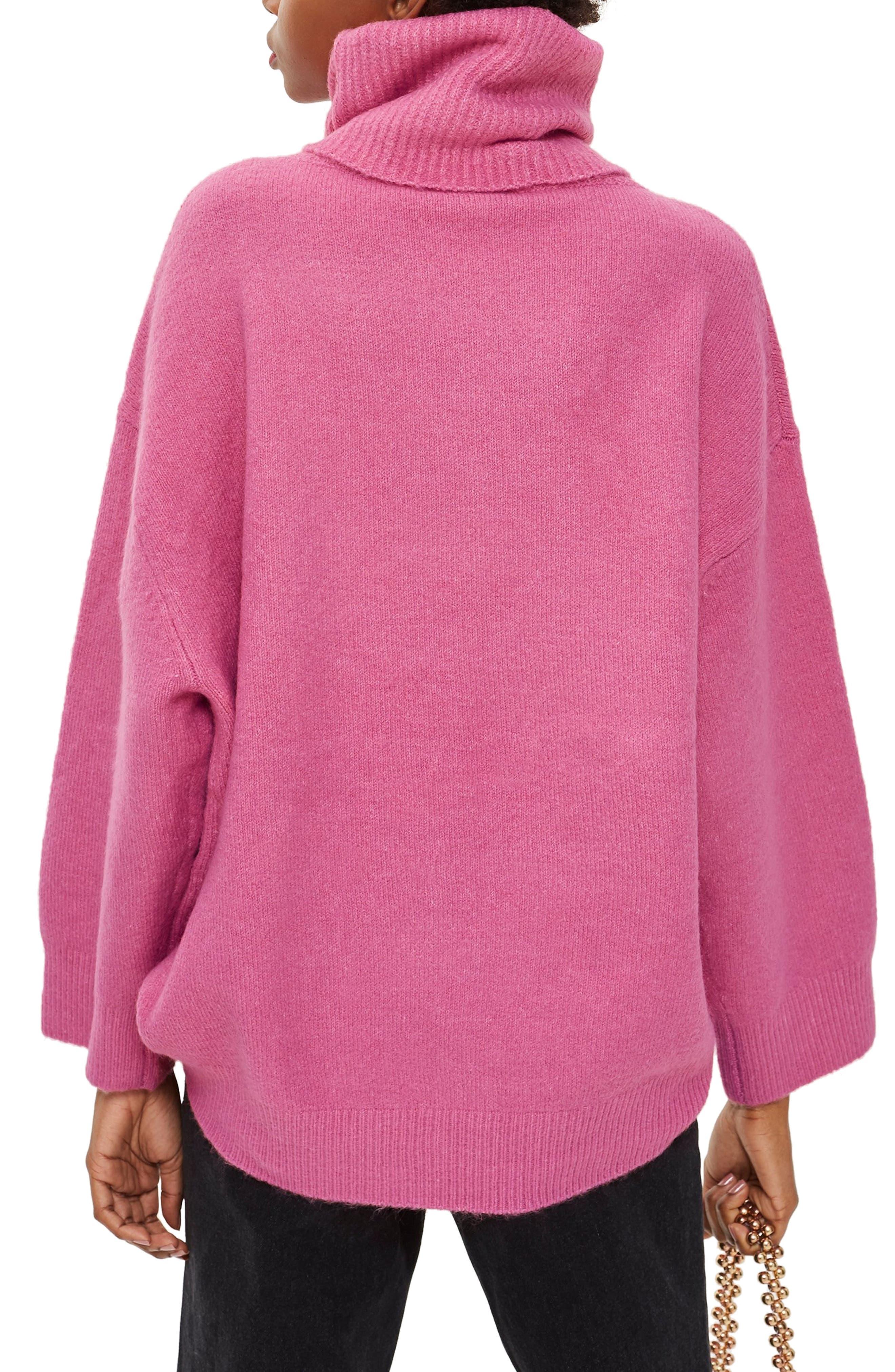 Oversize Turtleneck Sweater,                             Alternate thumbnail 2, color,                             BRIGHT PINK