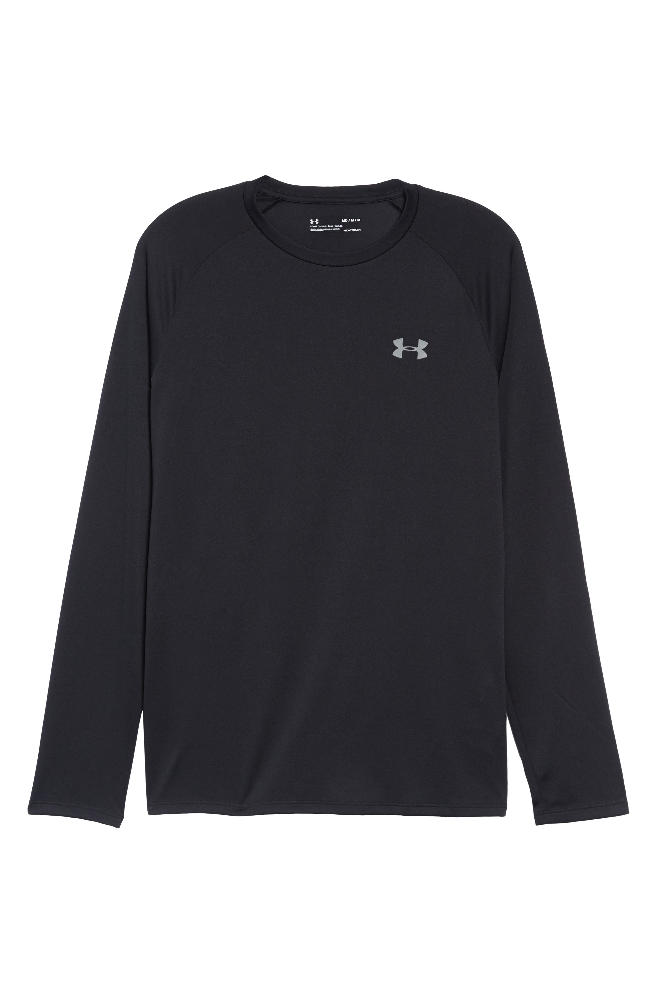 Performance Tech Long Sleeve Shirt,                             Alternate thumbnail 6, color,                             BLACK/ STEEL