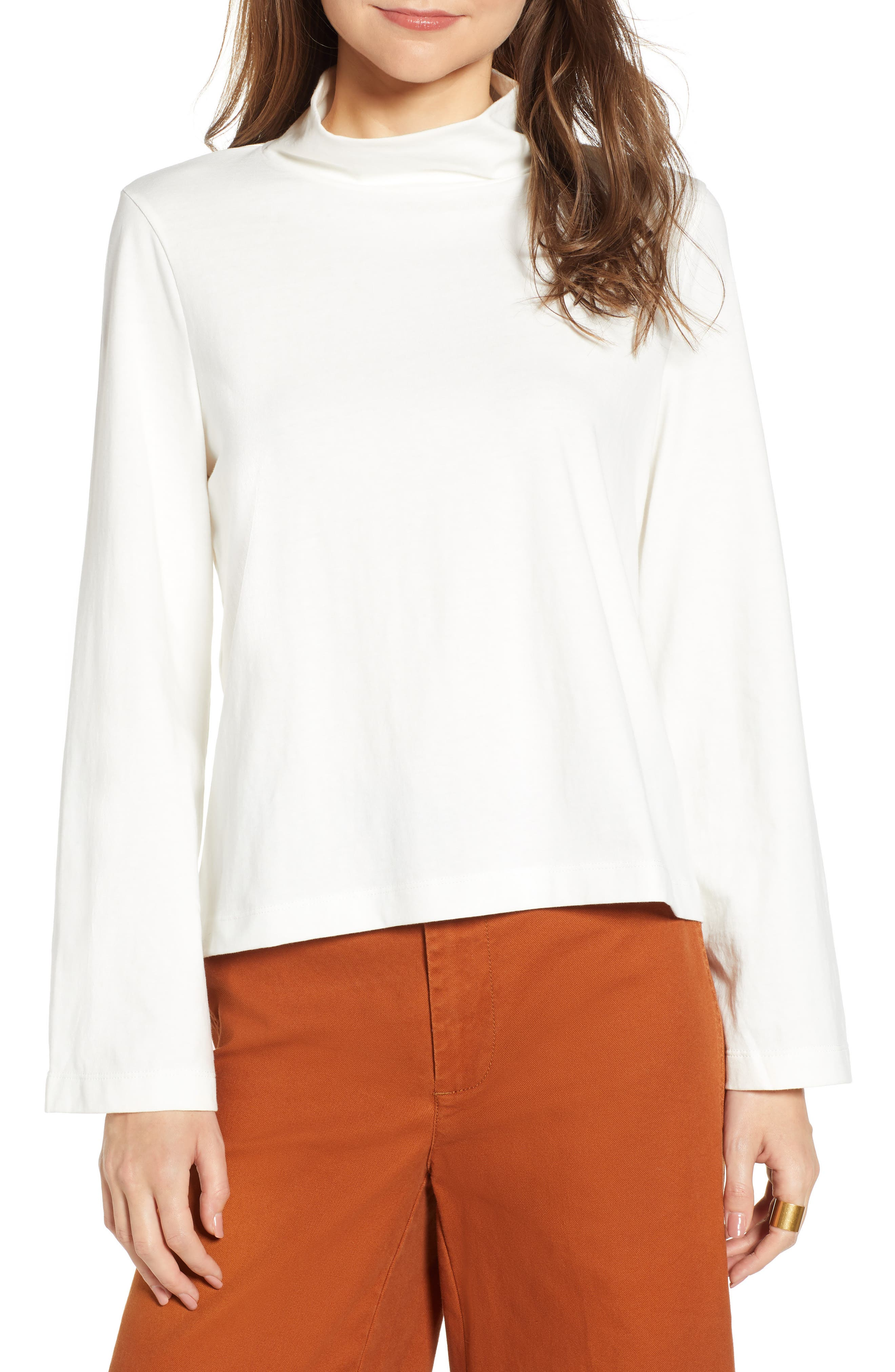Wide Sleeve Turtleneck,                         Main,                         color, BRIGHT IVORY