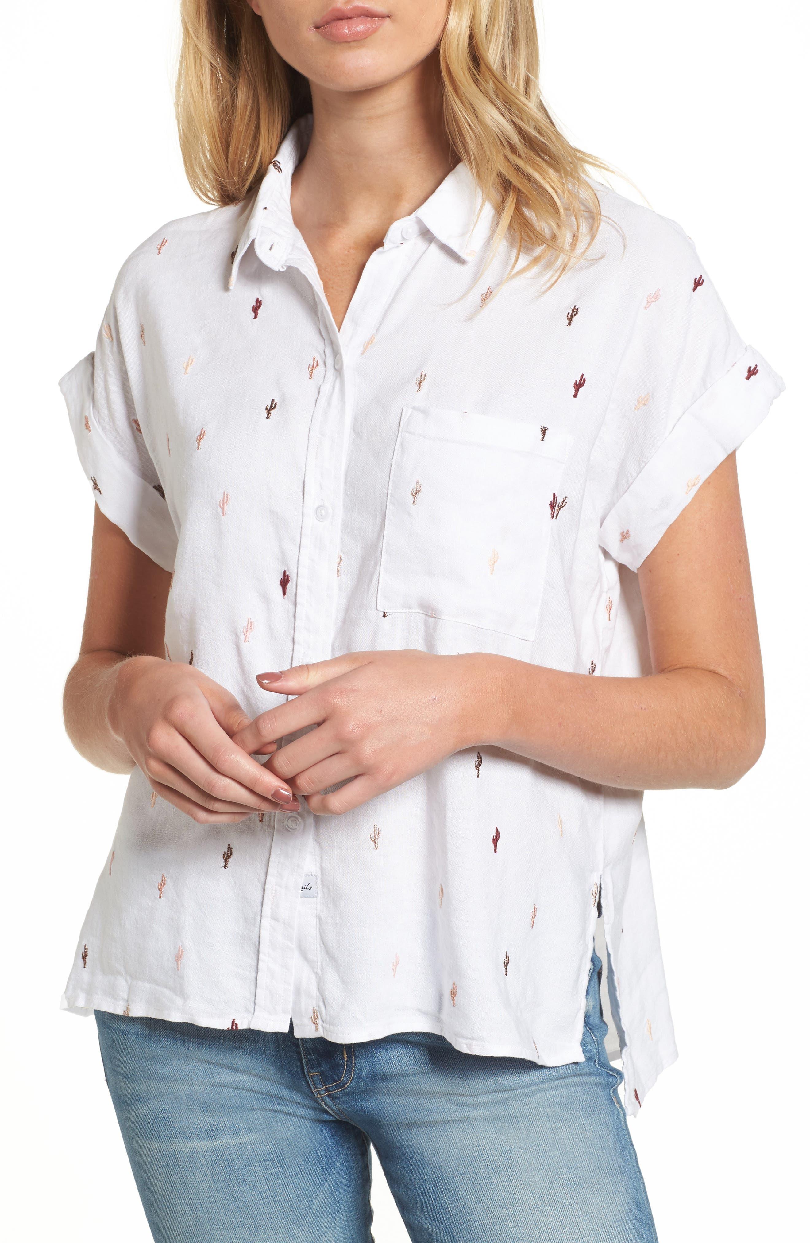 Whitney Cactus Print Shirt,                             Main thumbnail 1, color,                             METALLIC CACTUS