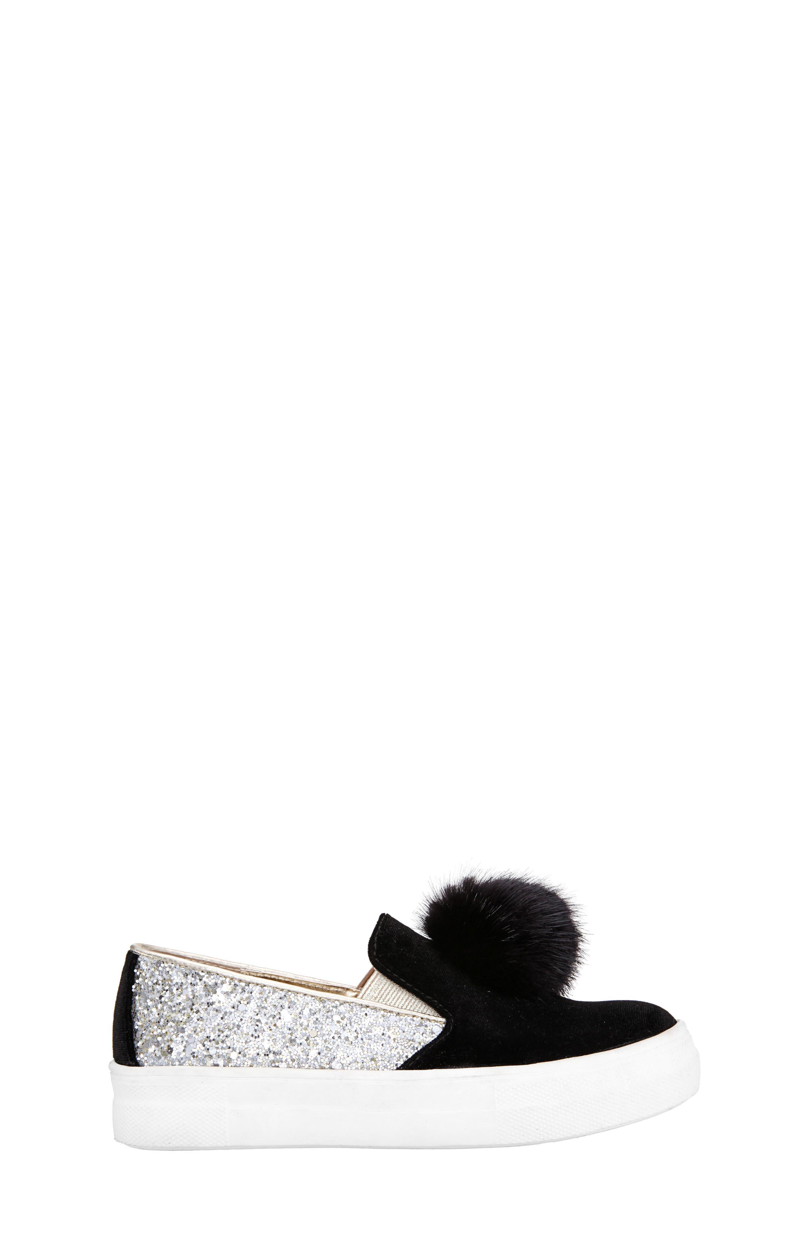 Hannie Glitter Pom Slip-On Sneaker,                             Alternate thumbnail 3, color,                             BLACK CHUNKY GLITTER/ VELVET