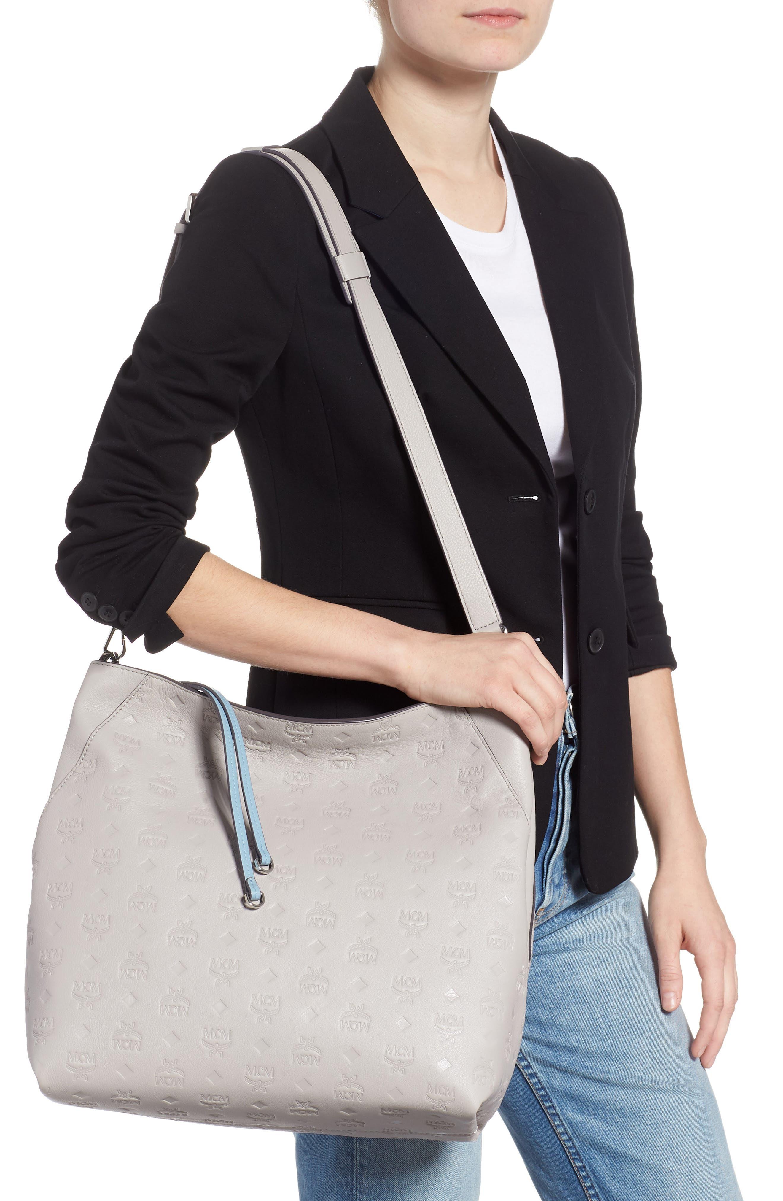 Klara Monogrammed Leather Hobo Bag,                             Alternate thumbnail 2, color,                             DOVE