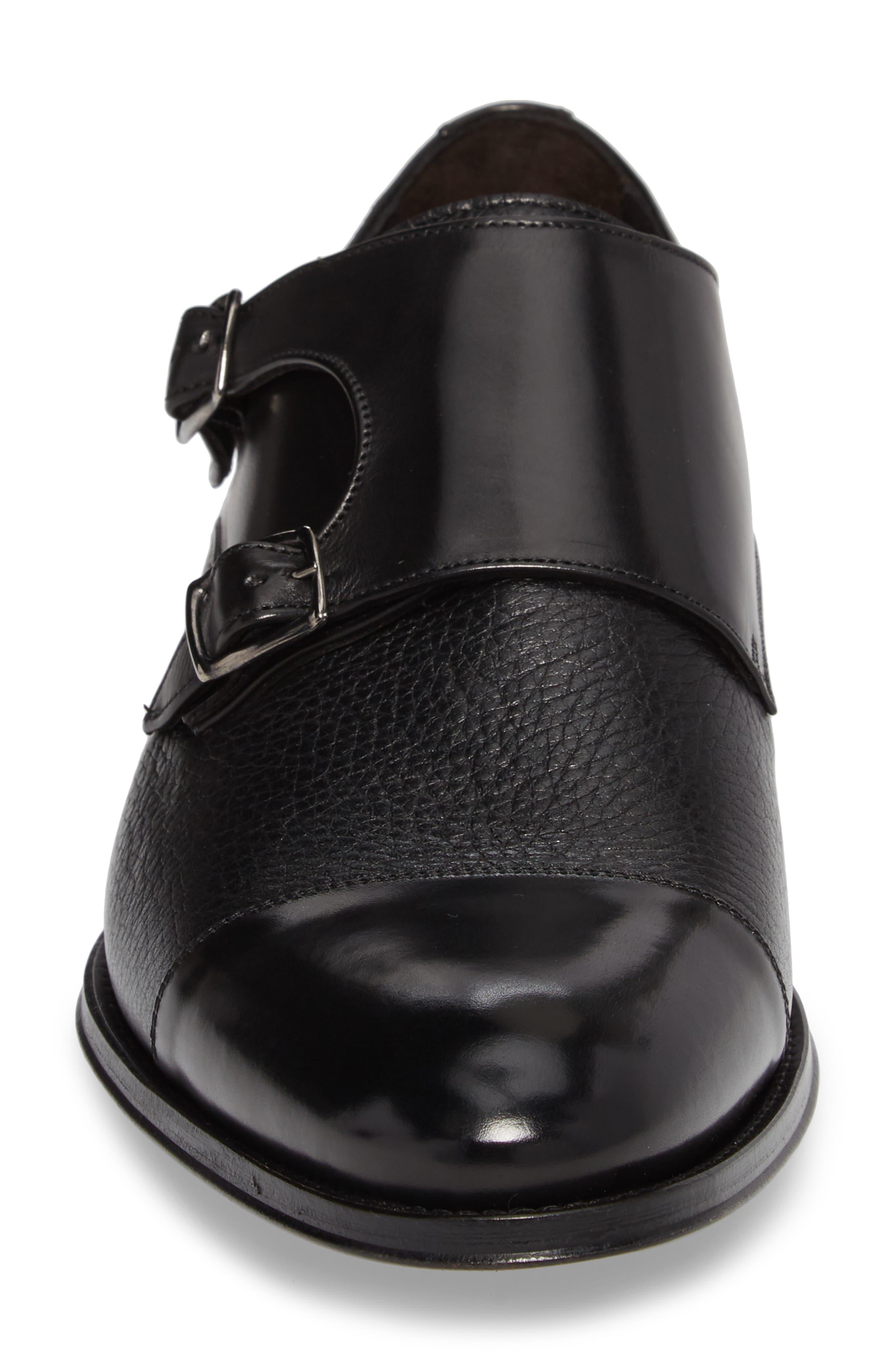 Kiev Double Monk Strap Shoe,                             Alternate thumbnail 4, color,                             BLACK/ BLACK LEATHER