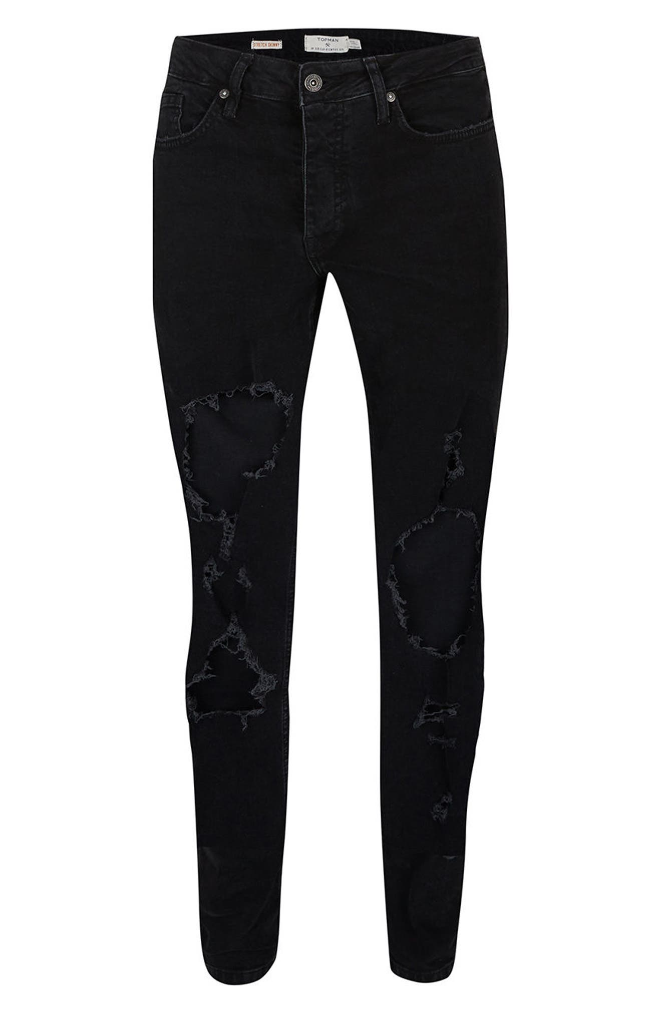 Extreme Ripped Stretch Skinny Fit Jeans,                             Alternate thumbnail 4, color,                             001