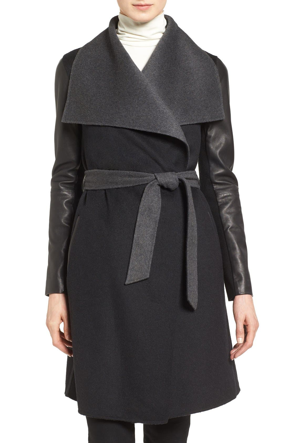 Leather Sleeve Wool Blend Wrap Coat,                         Main,                         color, 001