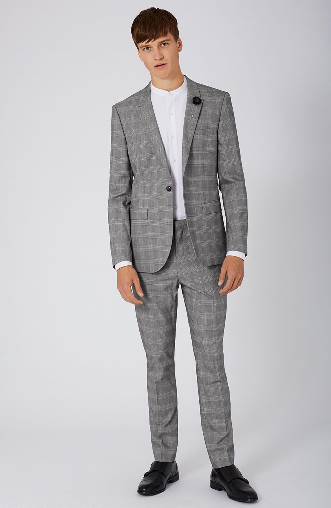 Skinny Fit Check Suit Jacket,                             Alternate thumbnail 5, color,                             001