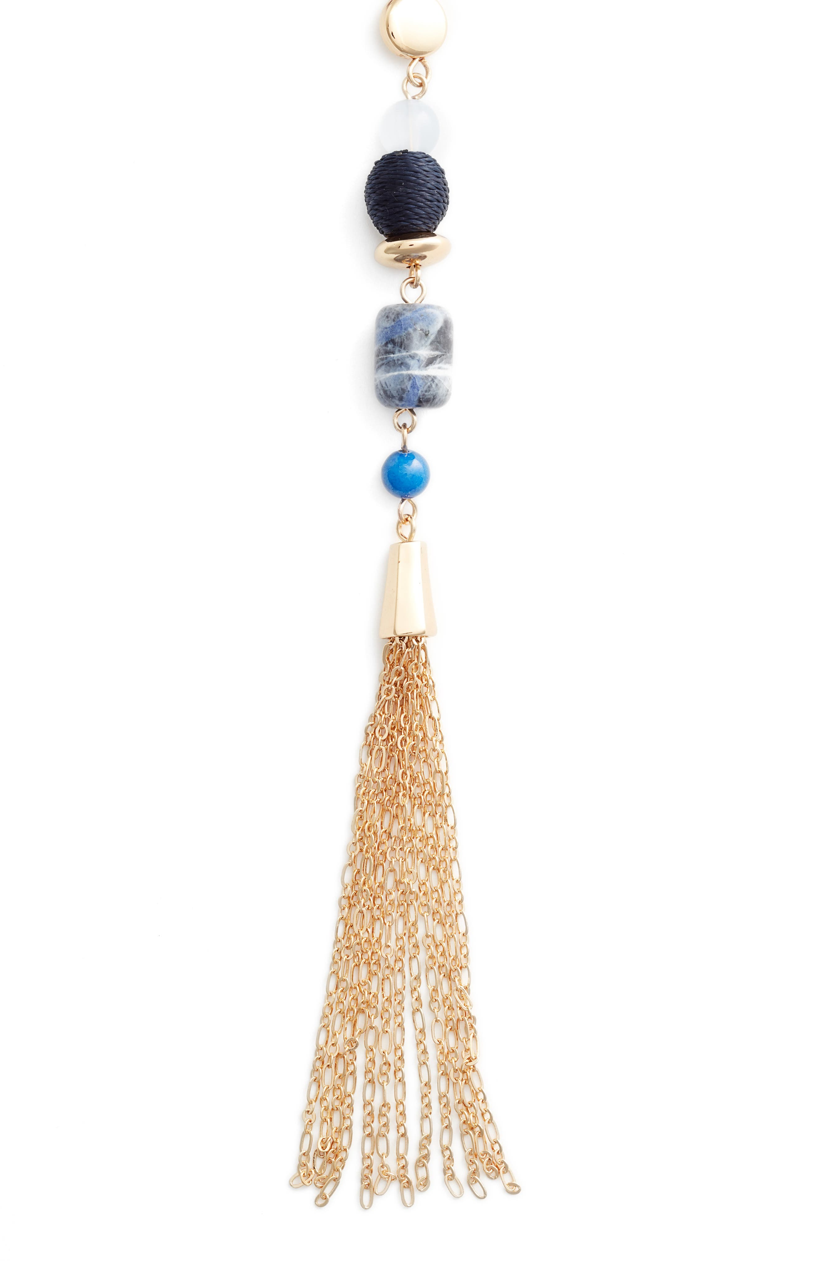Halogen Beaded Tassle Y Necklace,                             Main thumbnail 1, color,                             BLUE- GOLD